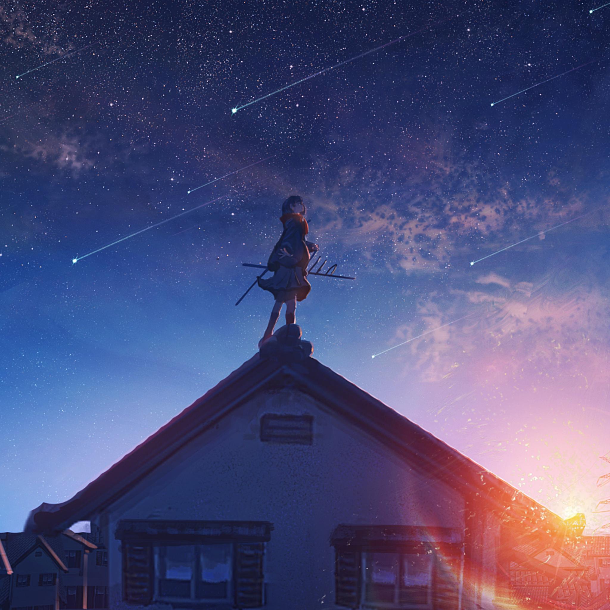 2048x2048 Anime Original Girl Shooting Star Ipad Air Hd 4k