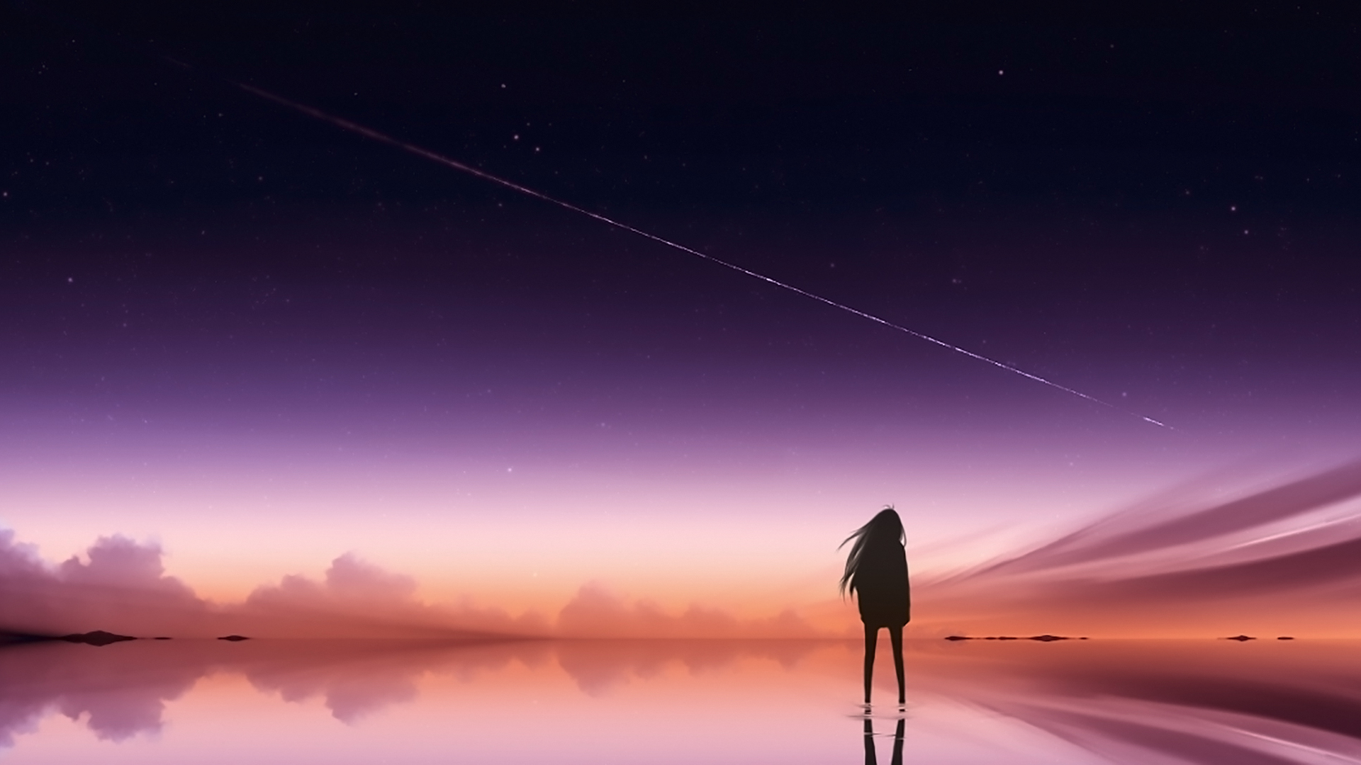 1920x1080 Anime Pink Sky Standing Alone Laptop Full Hd 1080p