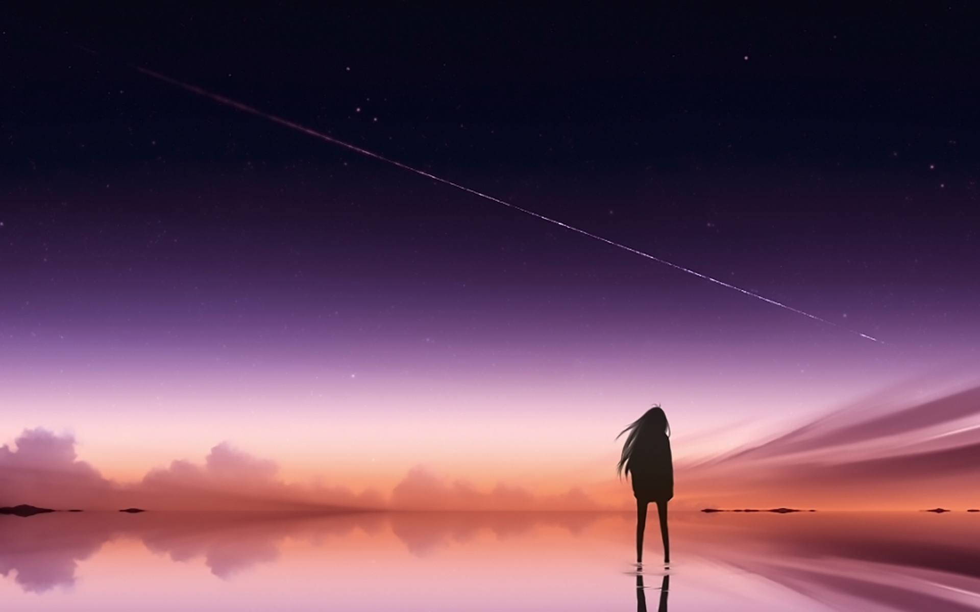 1920x1200 Anime Pink Sky Standing Alone 1080P Resolution ...