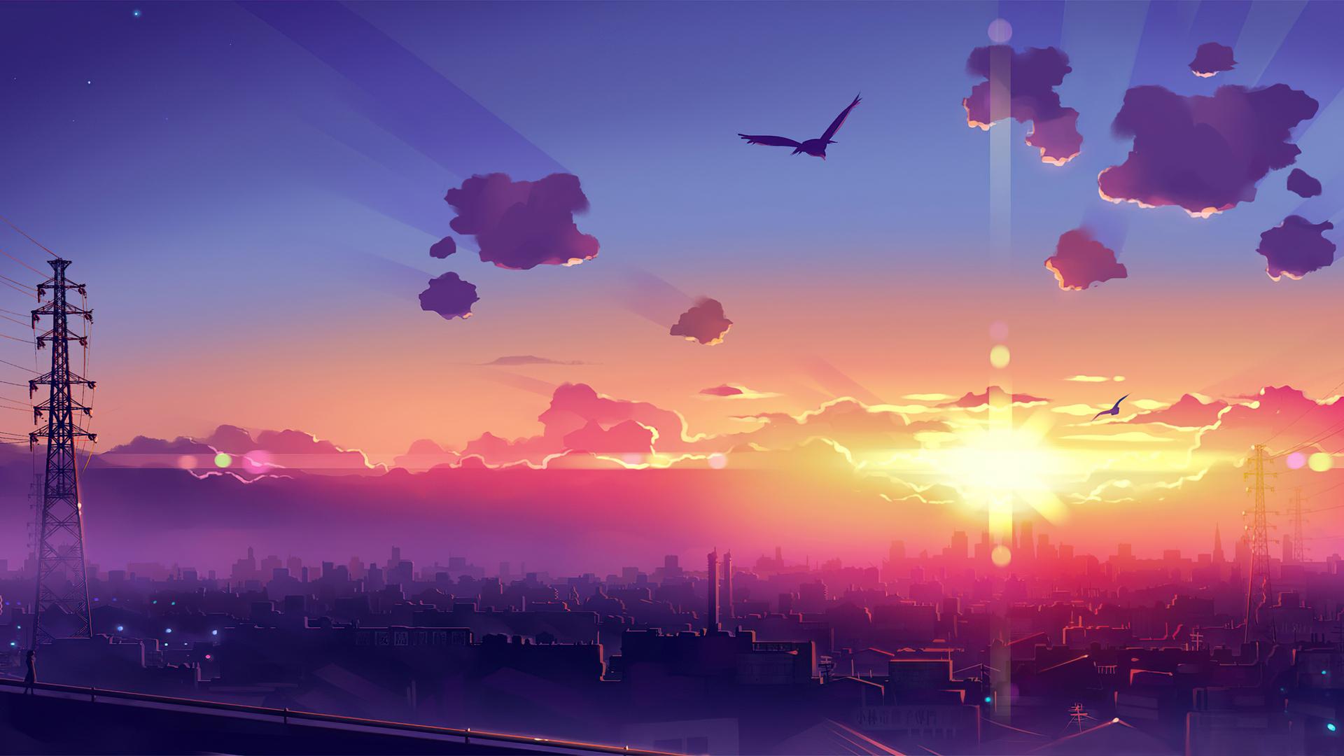 1920x1080 Anime Scenery Sunset 4k Laptop Full HD 1080P HD ...