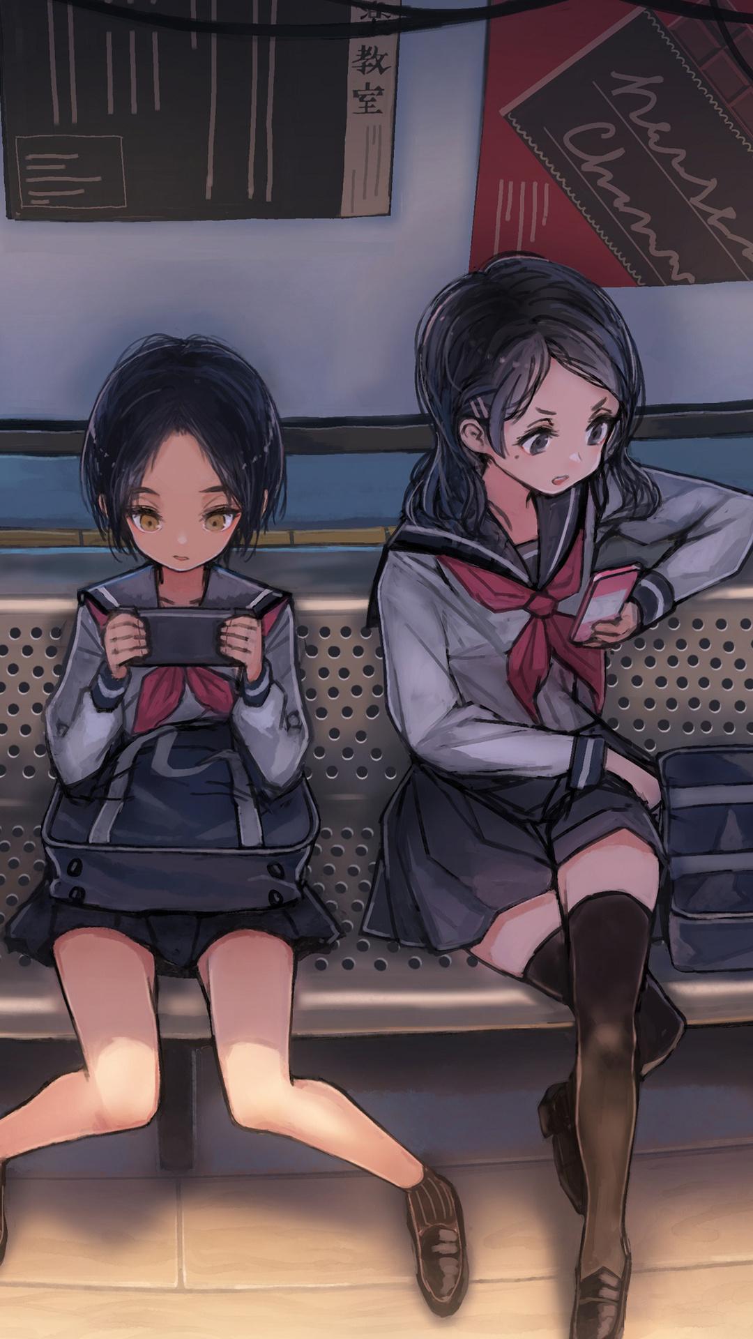 1080x1920 Anime Schoool Girls On Phones Waiting For Bus 4k
