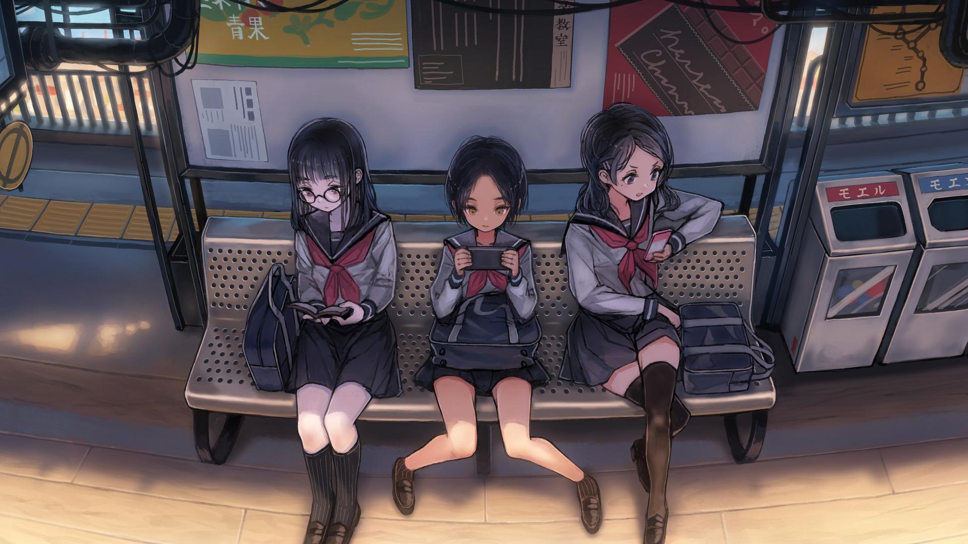 anime-schoool-girls-on-phones-waiting-for-bus-4k-x1.jpg
