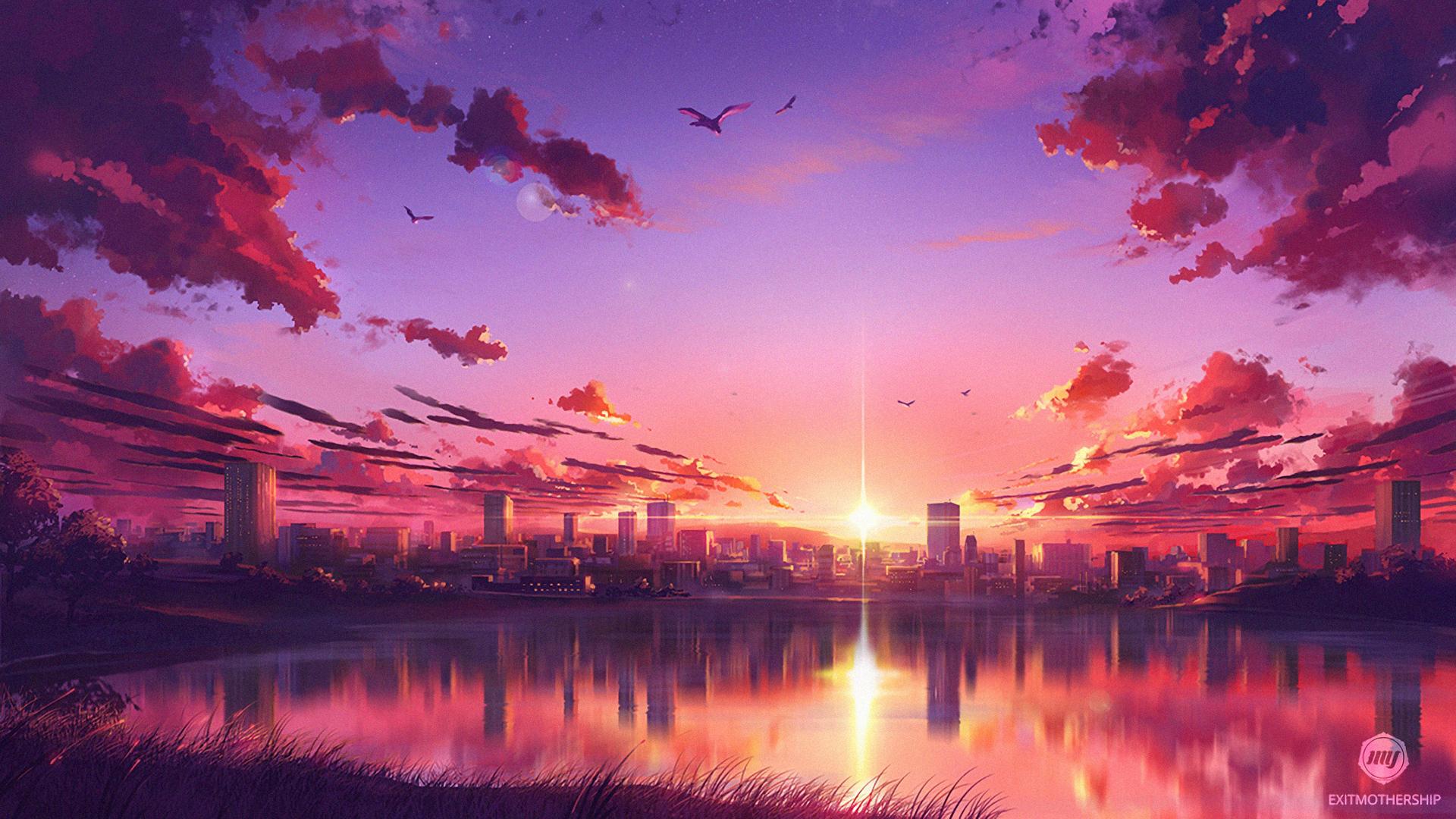 1920x1080 Anime Sunset Scene Laptop Full Hd 1080p Hd 4k