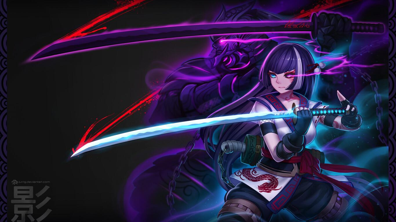 Anime Warrior Girl 1366x768 Resolution