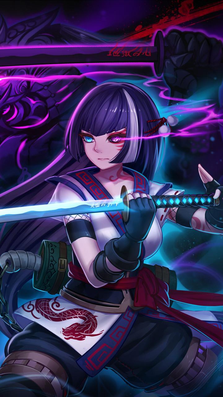 720x1280 anime warrior girl moto g x xperia z1 z3 compact galaxy s3 note ii nexus hd 4k - Galaxy wallpaper for girls ...