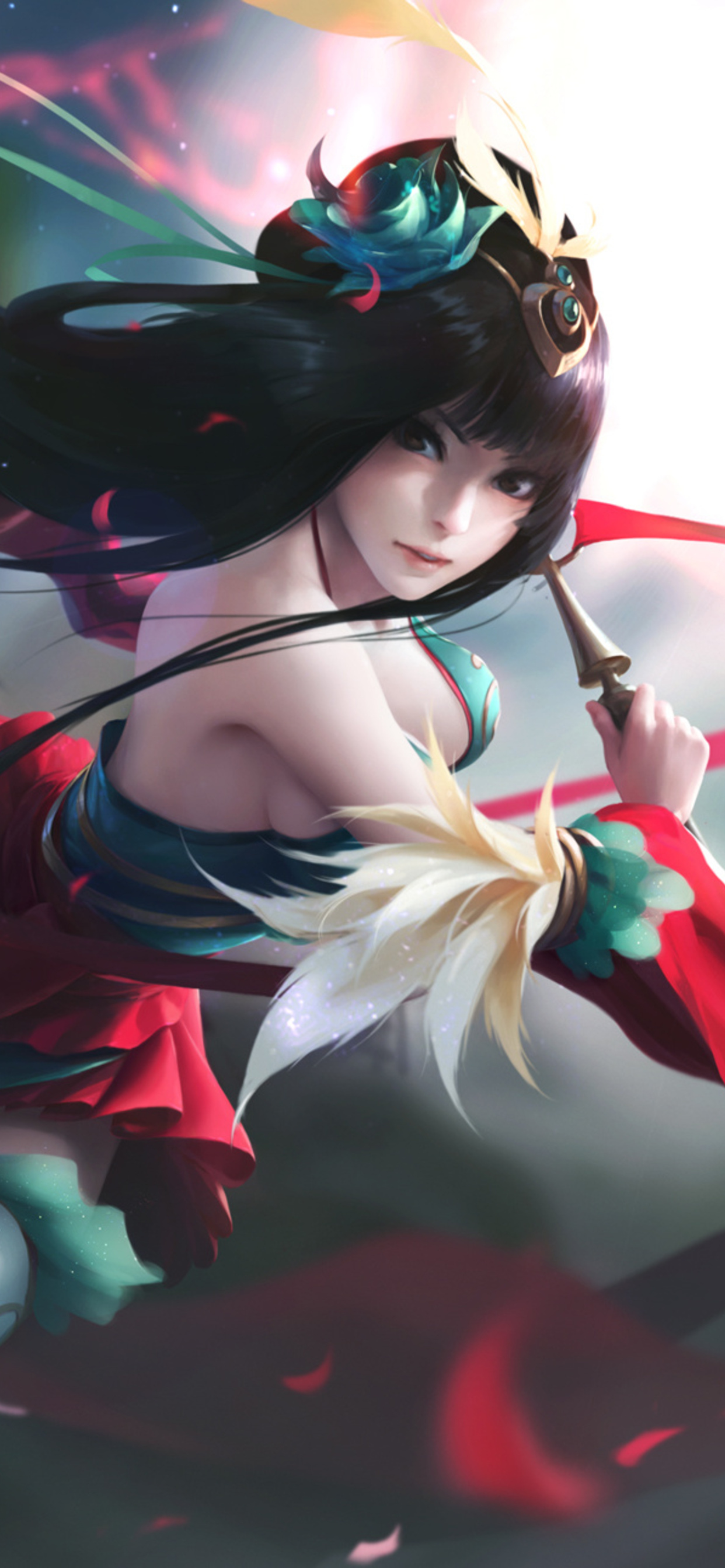 1242x2688 Anime Warrior Long Hair Girl Iphone Xs Max Hd 4k Wallpapers Images Backgrounds Photos And Pictures