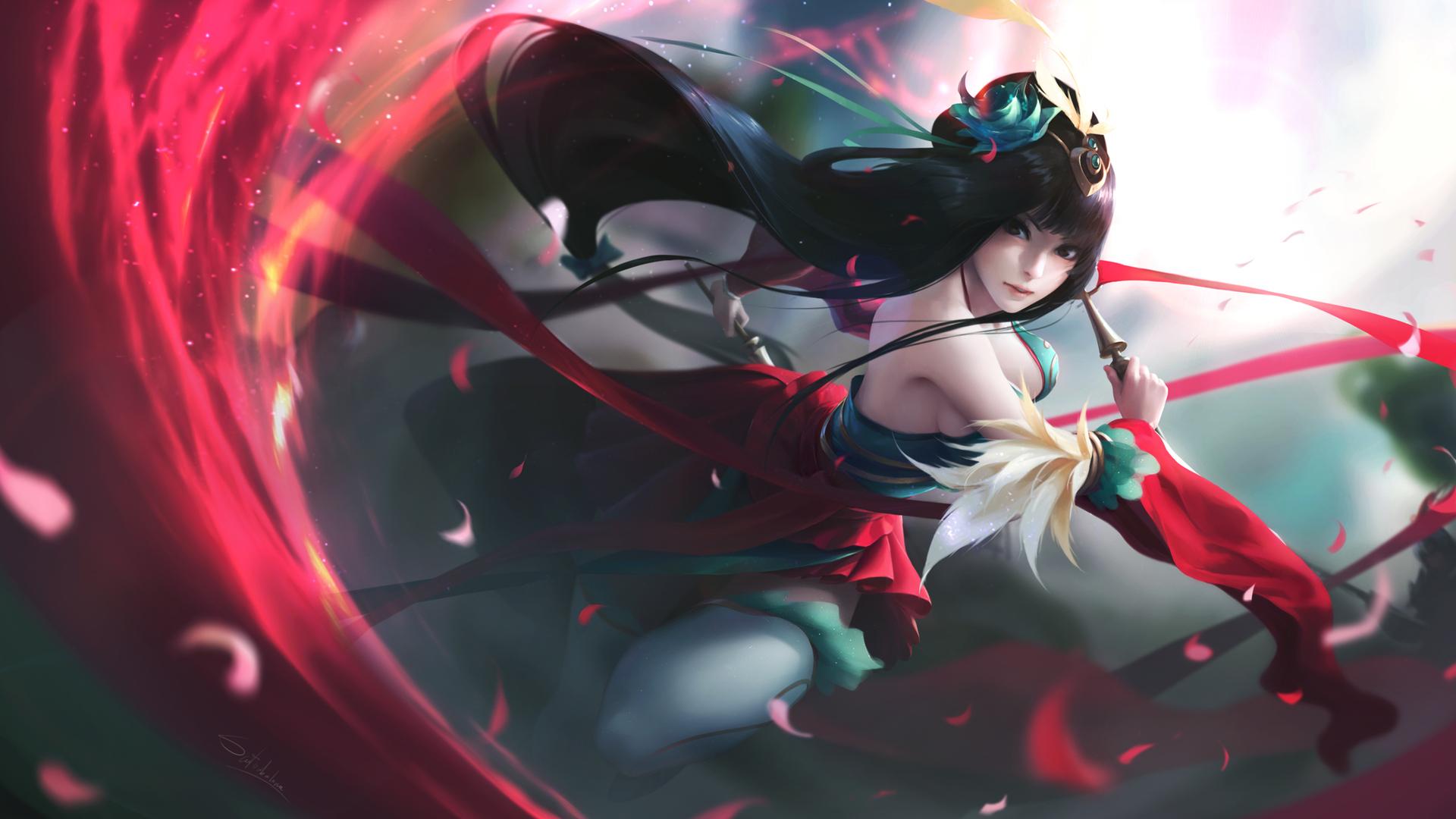 1920x1080 anime warrior long hair girl laptop full hd 1080p hd 4k wallpapers images - 1920x1080 hentai wallpaper ...