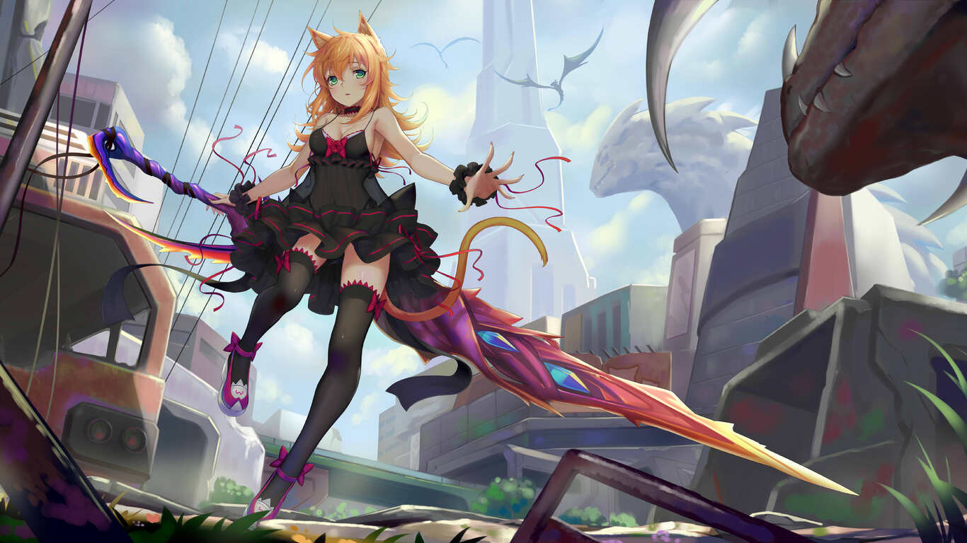 1366x768 Anime Women Sword 8k 1366x768 Resolution Hd 4k Wallpapers Images Backgrounds Photos And Pictures
