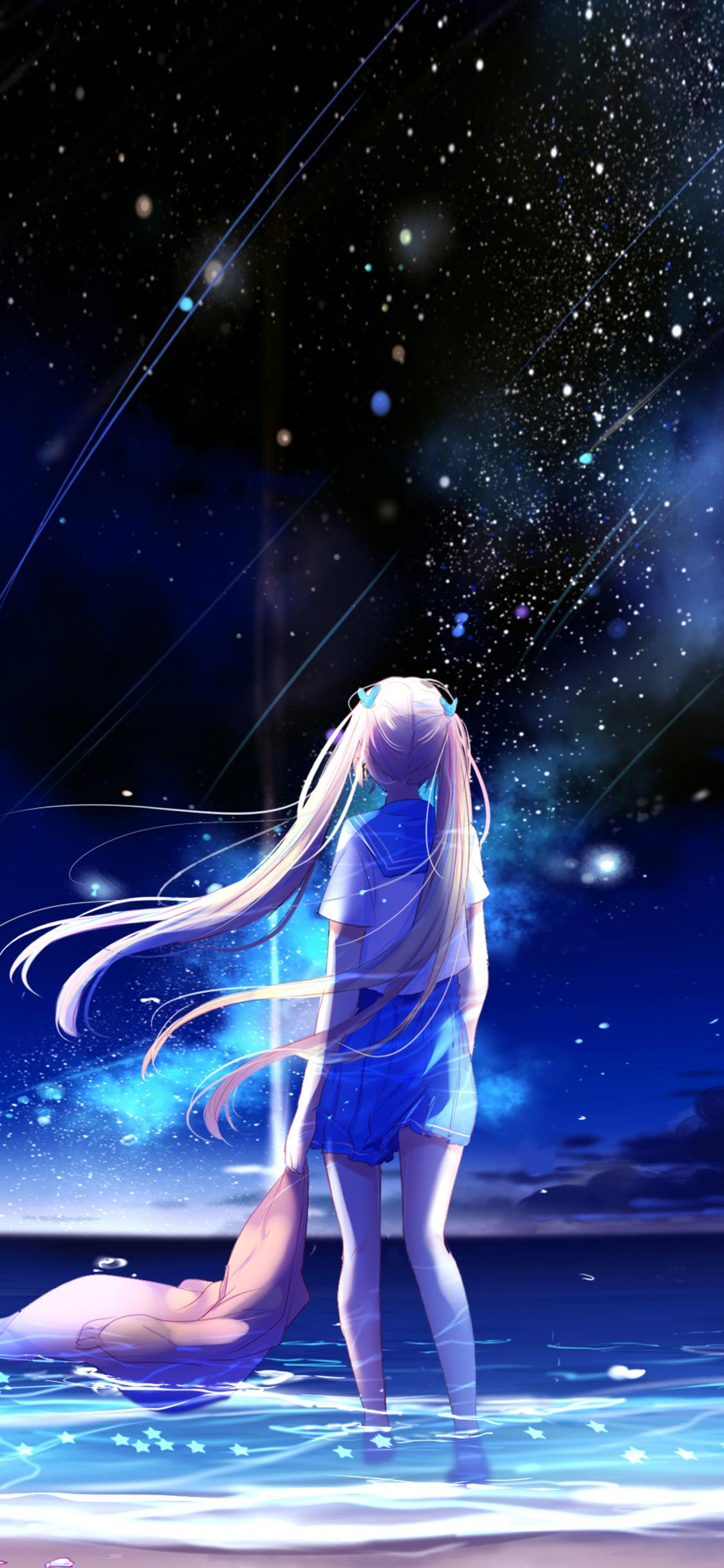 1125x2436 Animegirl Night Sea Stars Fantasy Iphone Xs Iphone 10