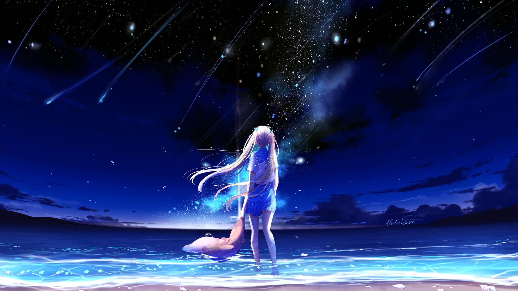 Download Wallpaper Night Fantasy - animegirl-night-sea-stars-fantasy-0p-2048x1152  Snapshot-213362.jpg