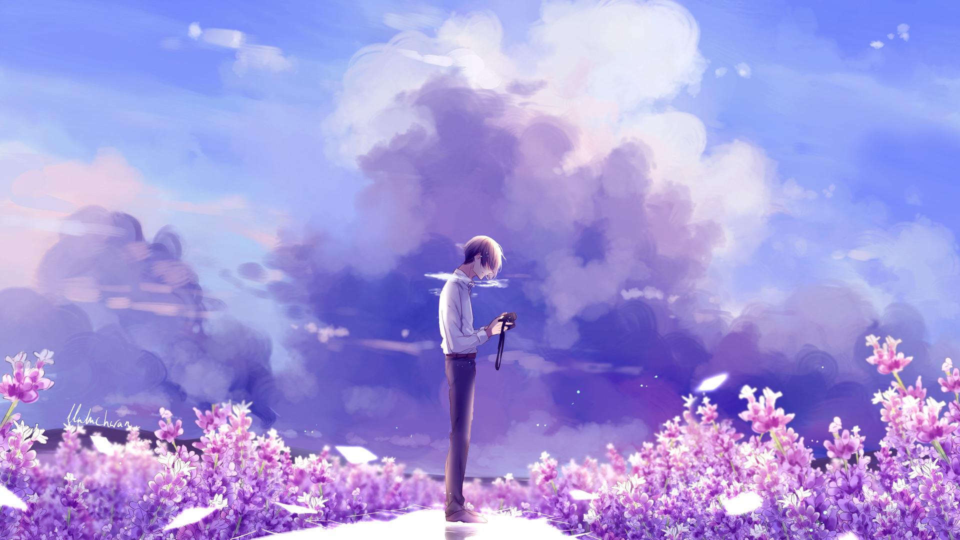 1920x1080 Animeguy Animemanga Clouds Digital Flowers ...