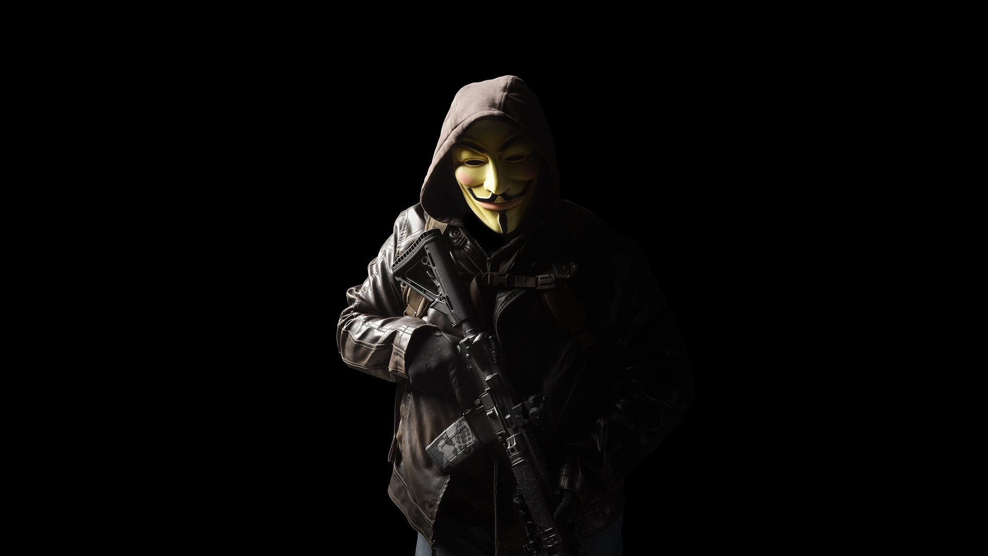 1920x1080 Anonymous Mask Person With Gun 5k Laptop Full HD ...