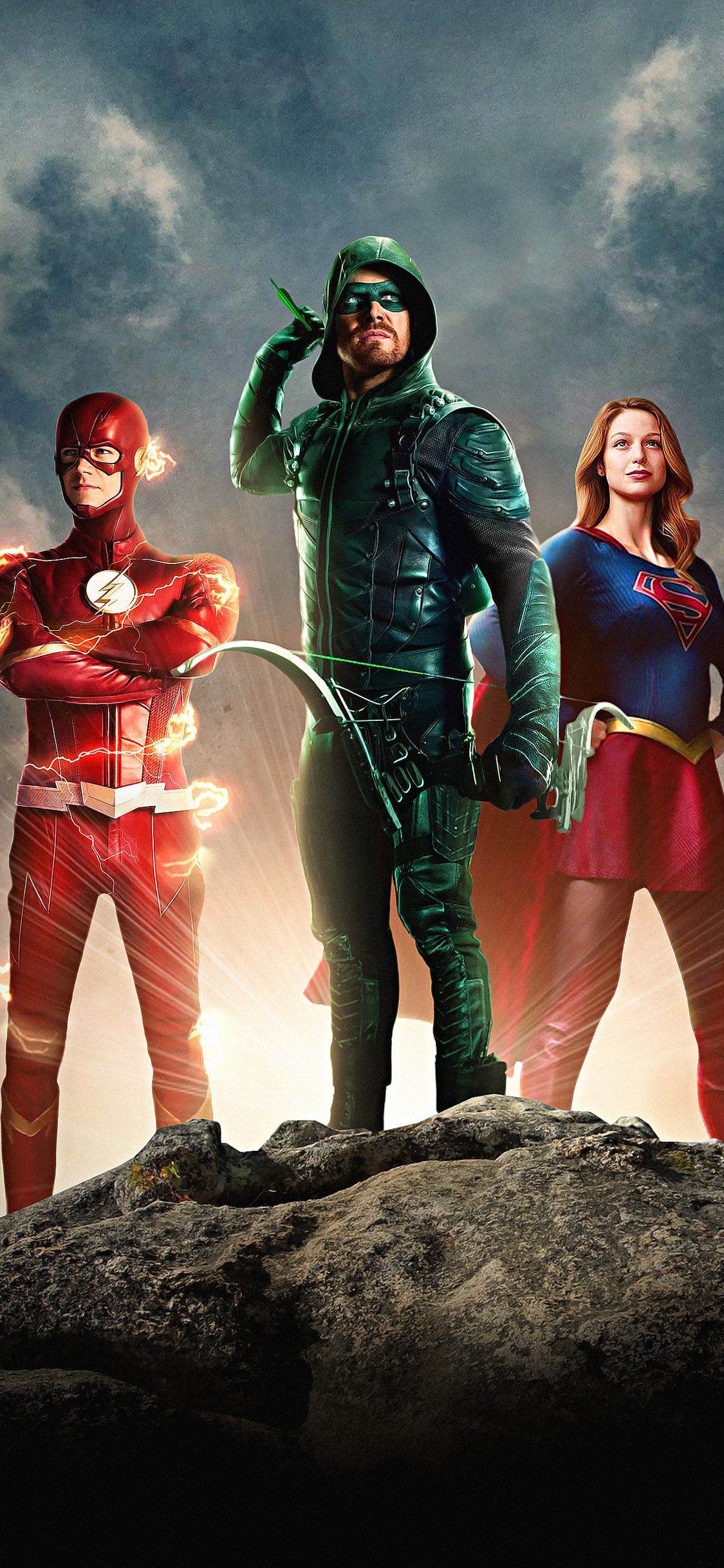 1125x2436 Arrow Flash Supergirl Dctv Trinity Iphone Xs