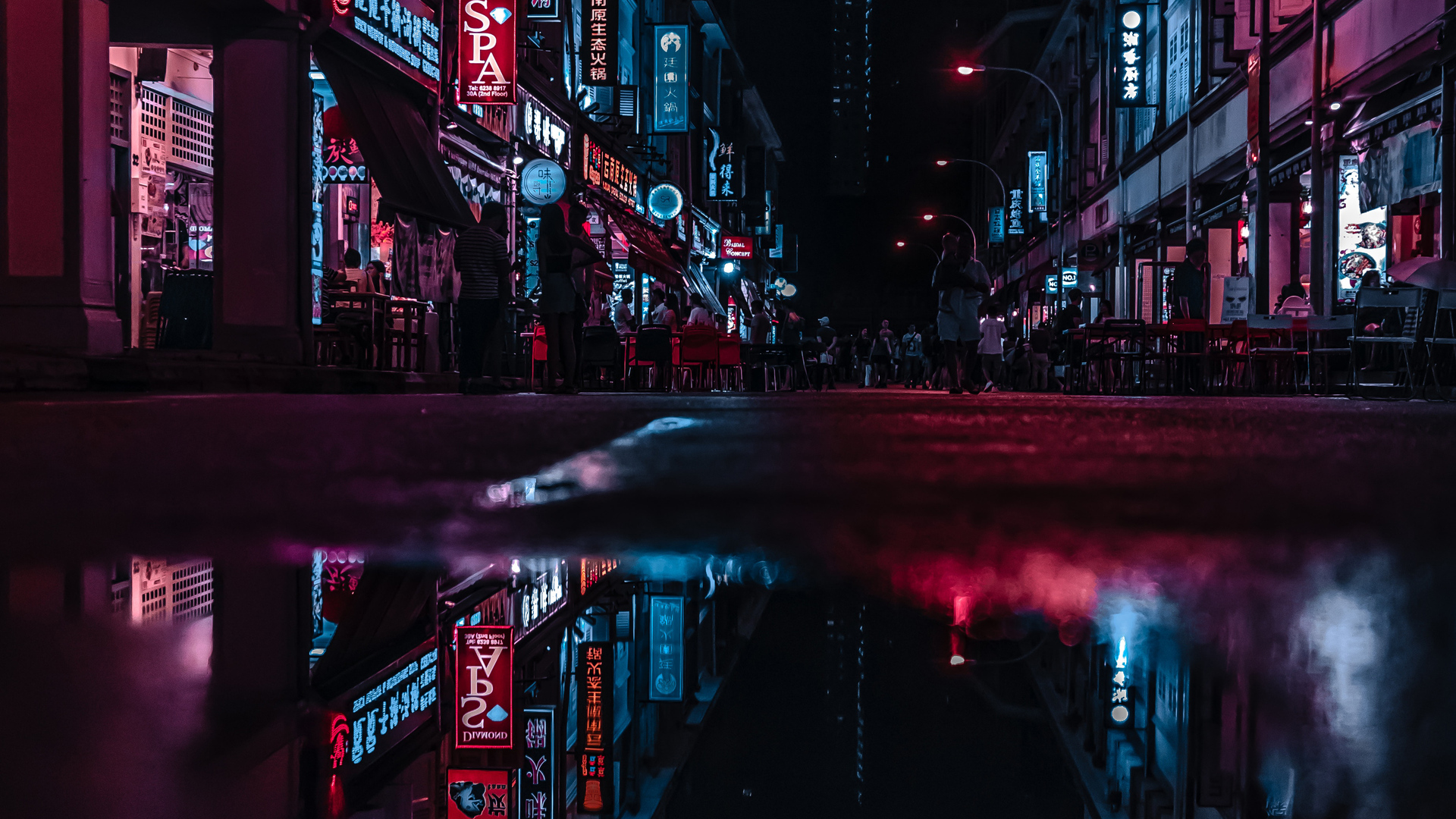 1920x1080 Asia Neon City Lights Reflections Laptop Full Hd