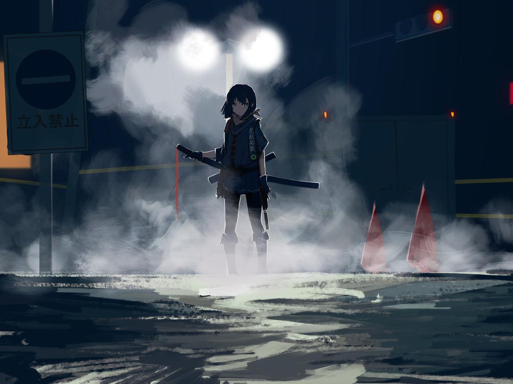 1024x768 Assassin Anime Girl With Sword 1024x768 ...