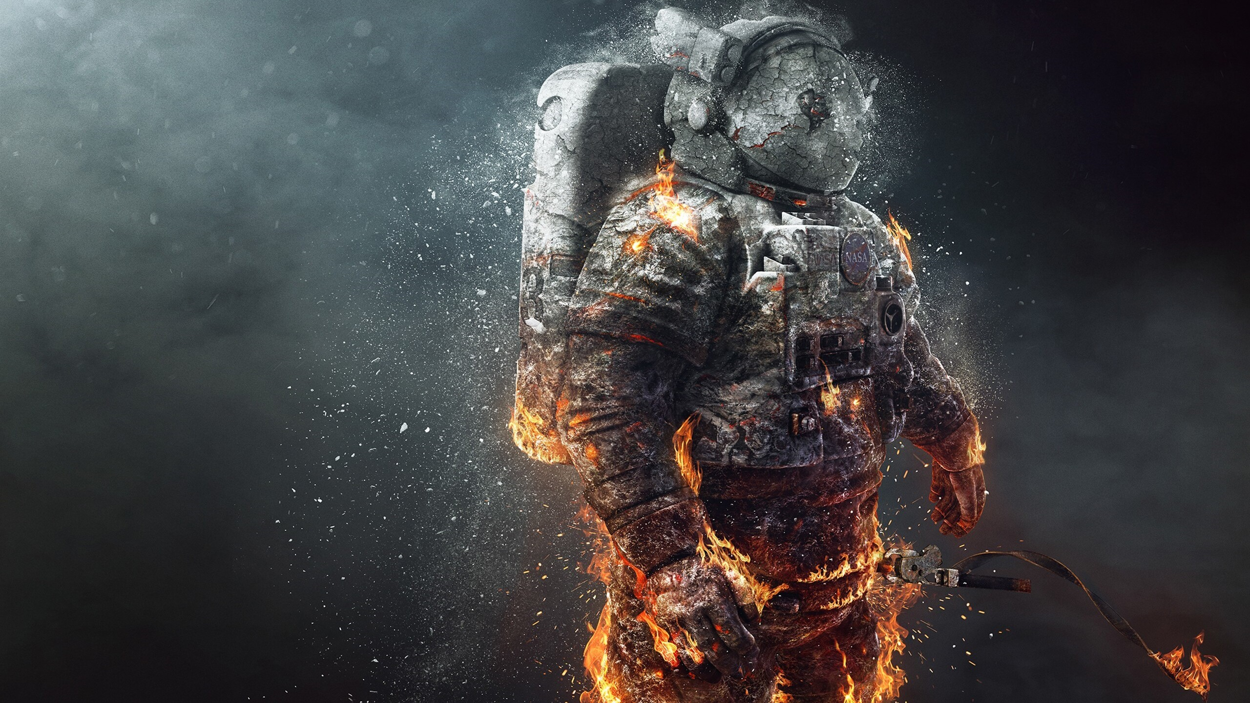 2560x1440 Astronaut Fire Scifi 1440P Resolution HD 4k Wallpapers, Images, Backgrounds, Photos and Pictures