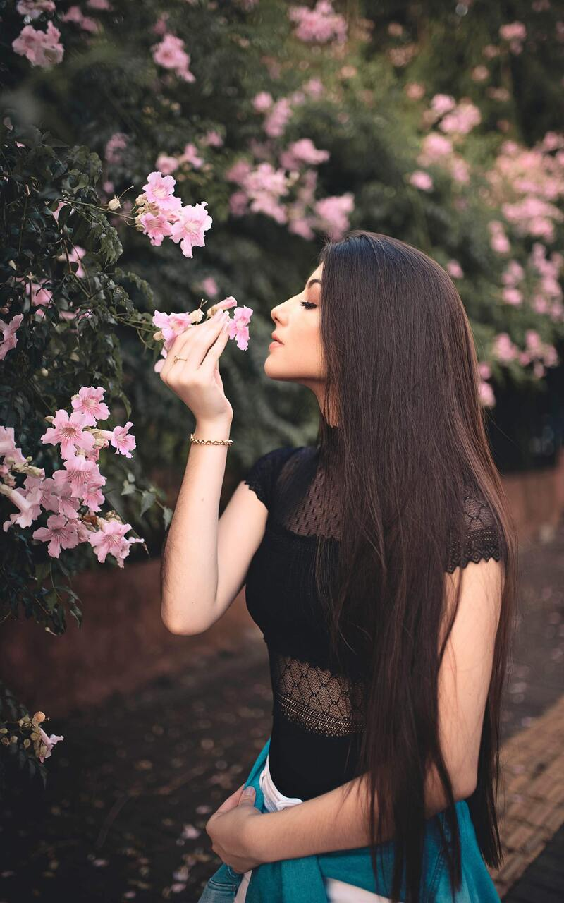 800x1280 Attractive Beautiful Girl Smelling Flowers Nexus 7 Samsung Galaxy Tab 10 Note Android Tablets Hd 4k Wallpapers Images Backgrounds Photos And Pictures