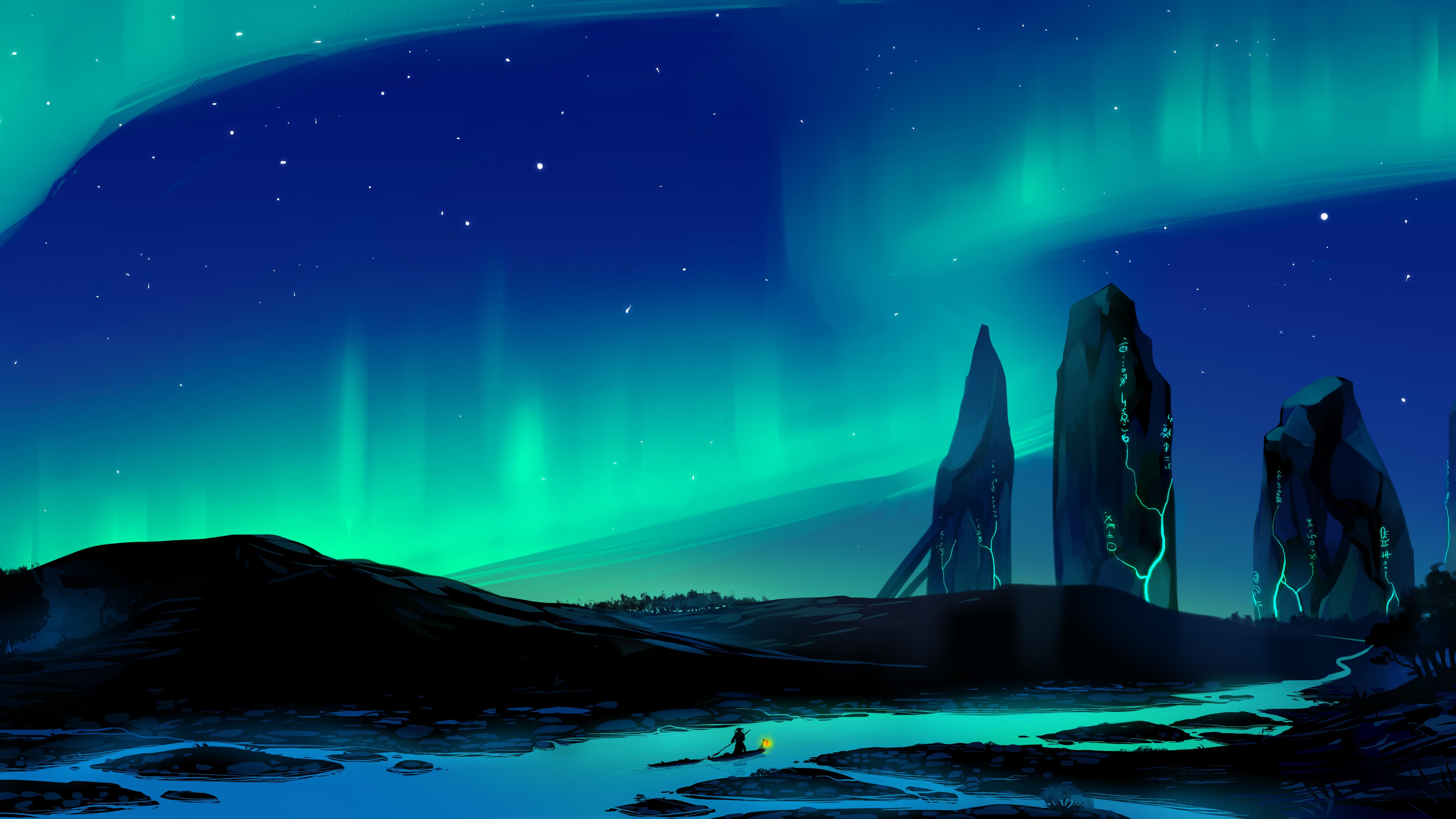 5120x2880 Aurora Borealis Town 5k 5k HD 4k Wallpapers ...