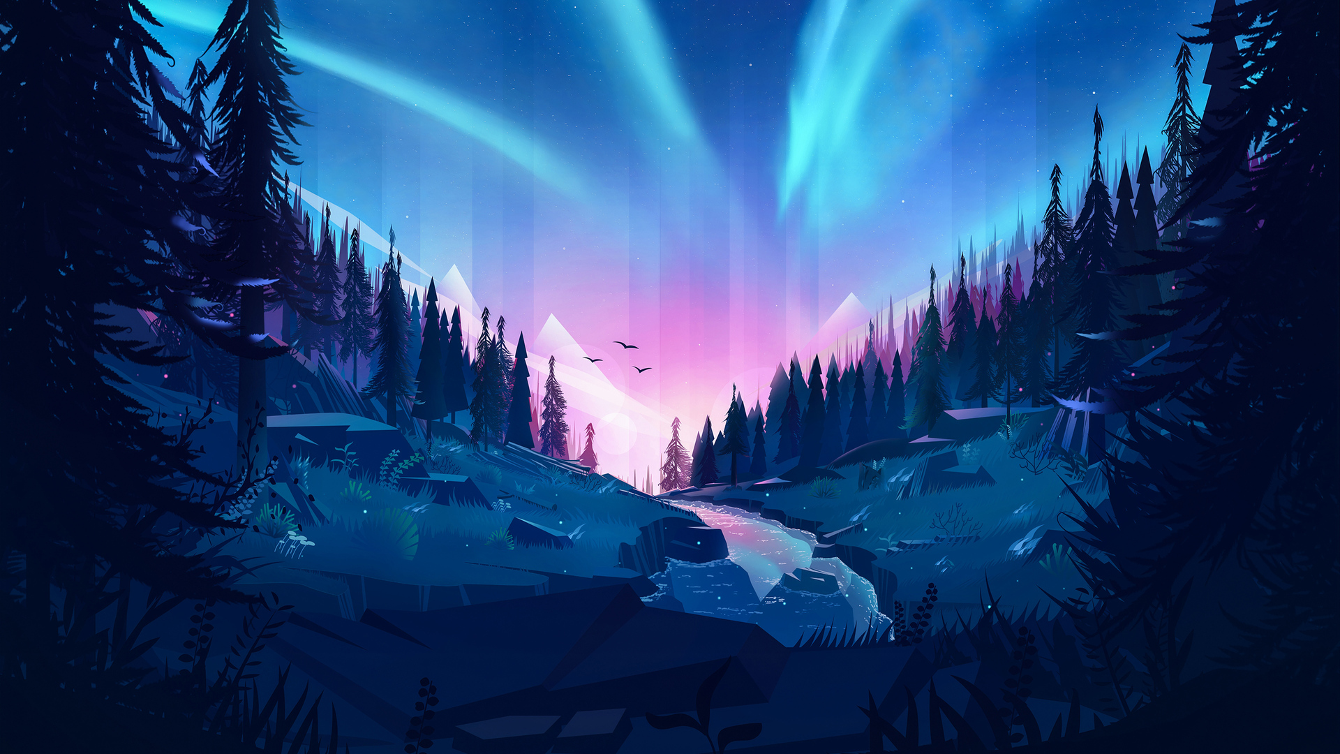 1920x1080 Auroral Forest 4k Illustration Laptop Full Hd