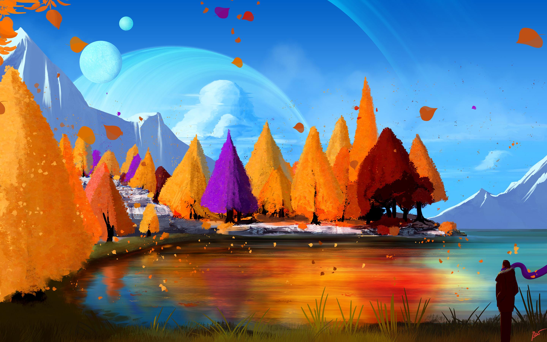 2880x1800 Autumn Fall Trees Season Paint Macbook Pro Retina