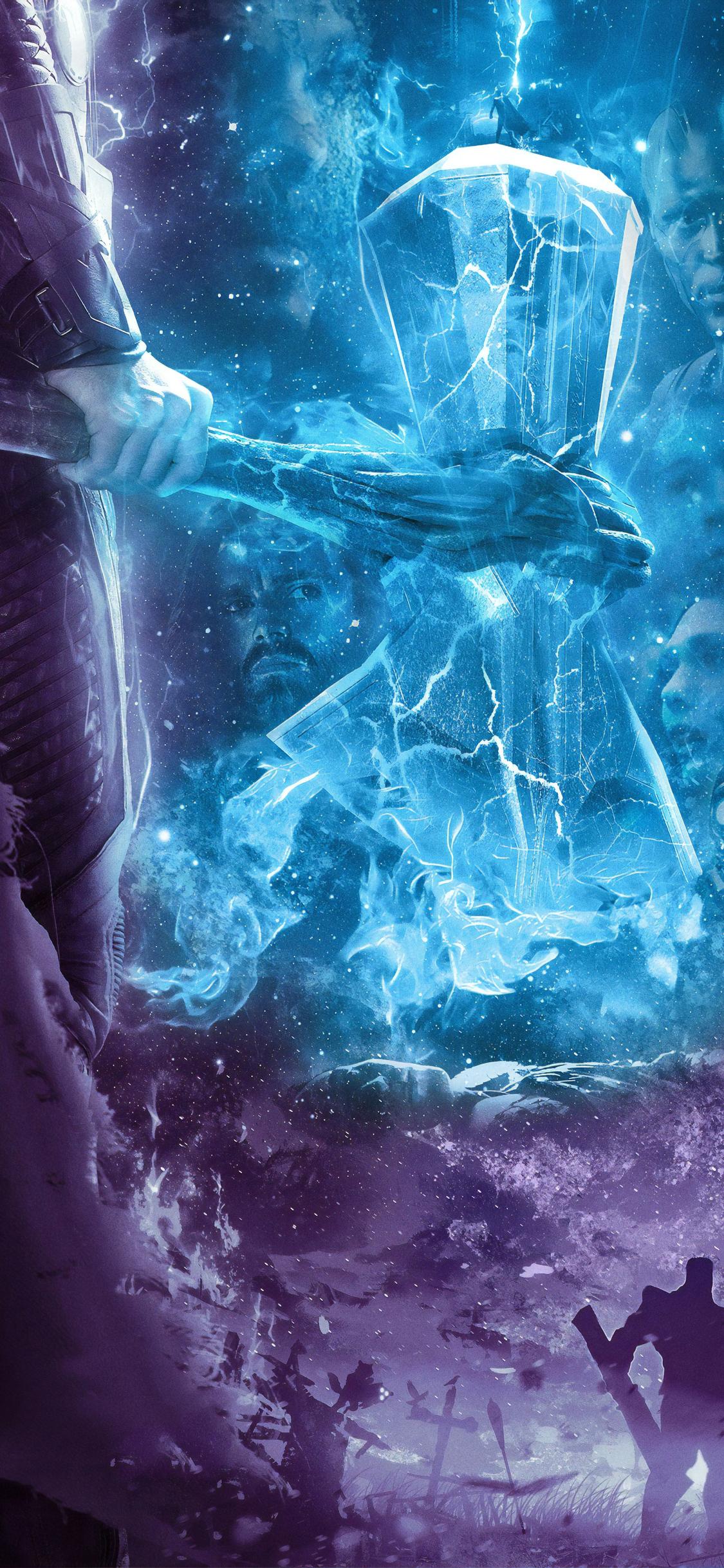 1125x2436 Avengers Endgame Thor Hammer Poster 4k Iphone Xs