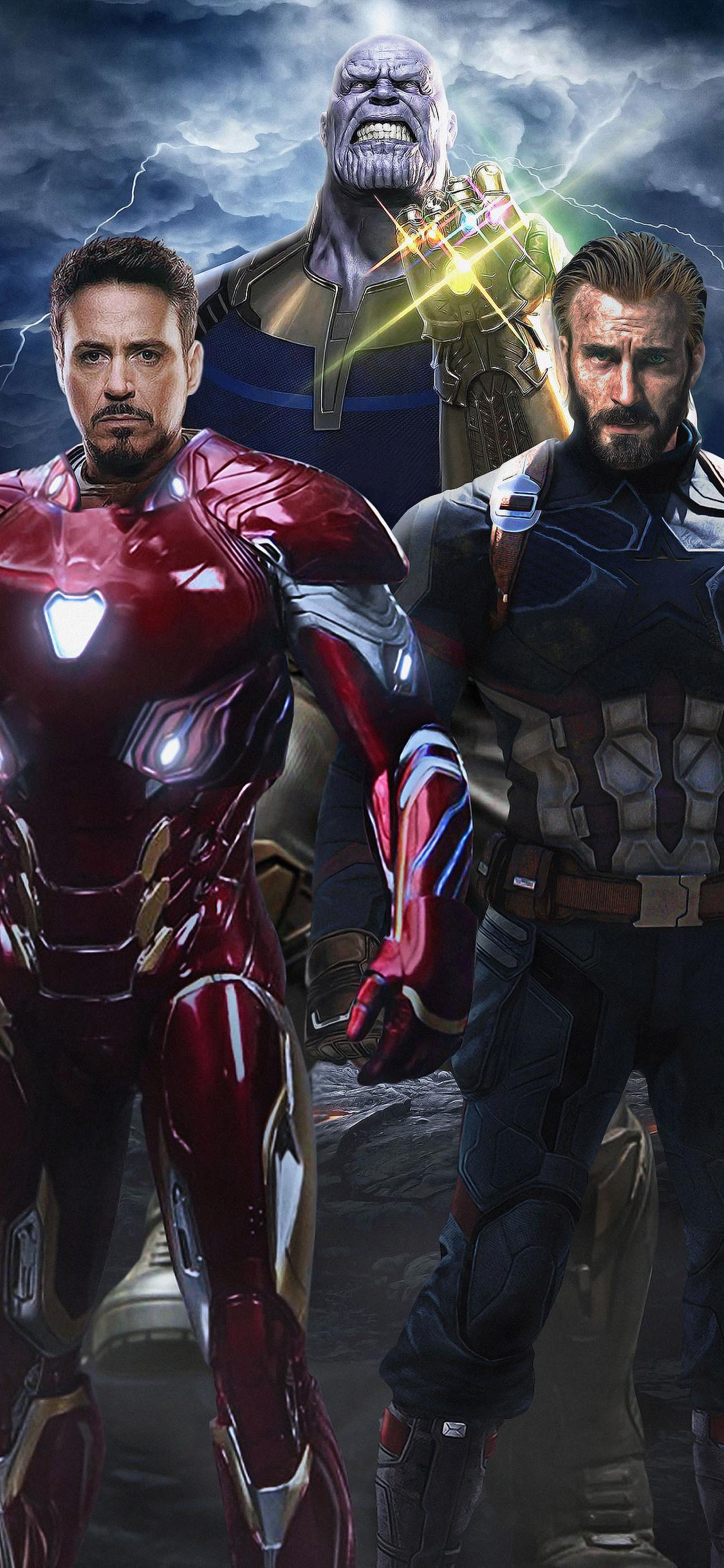 1125x2436 Avengers Infinity War Captain America Iron Man Thanos