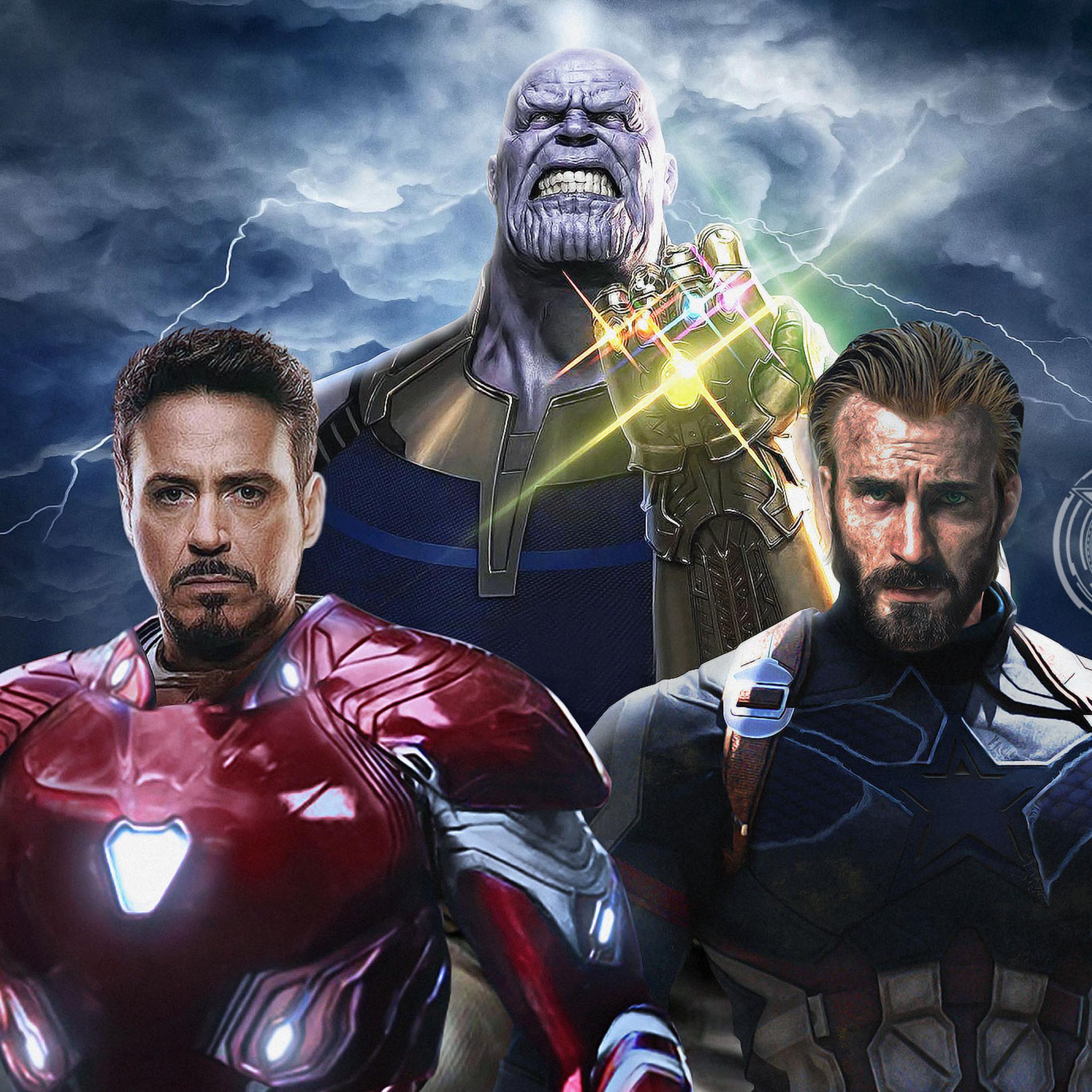 2048x2048 avengers infinity war captain america iron man thanos ipad