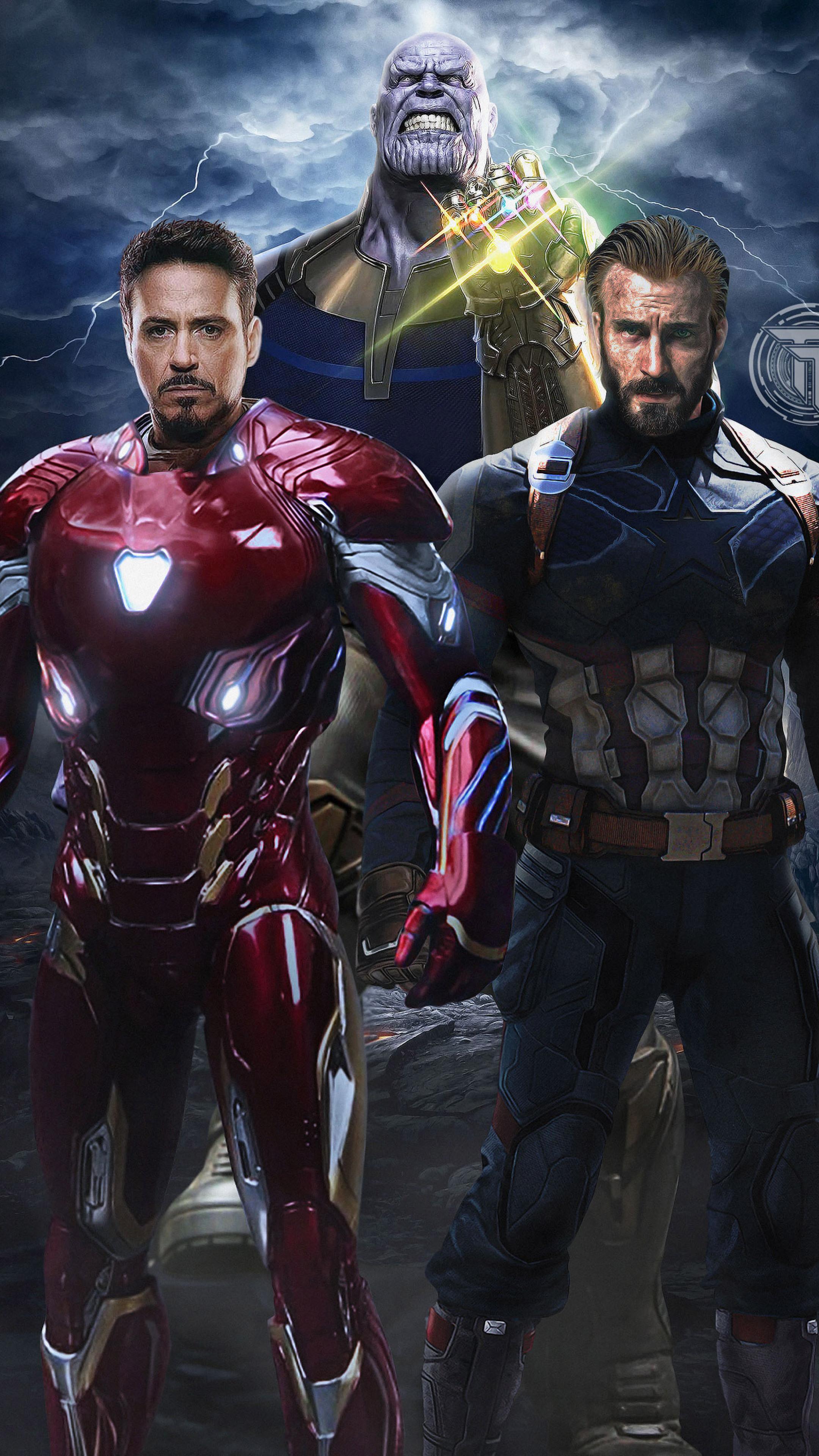 2160x3840 Avengers Infinity War Captain America Iron Man Thanos Sony