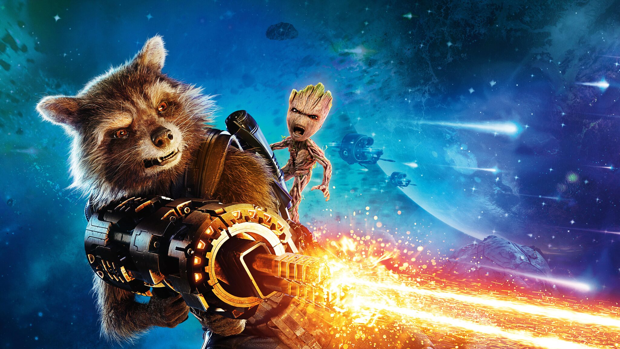2048x1152 Baby Groot And Rocket Raccoon Guardians Of The