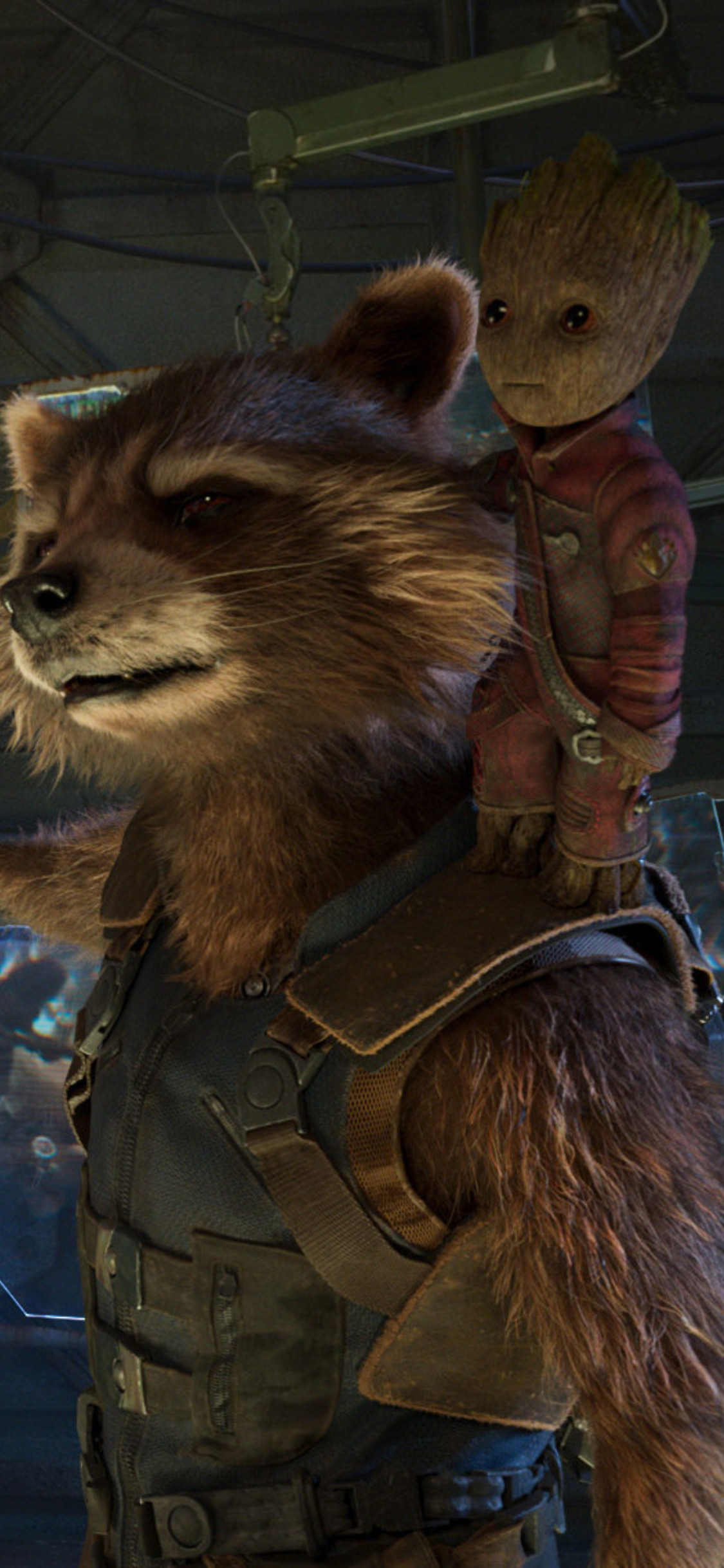 Baby Groot And Rocket Raccoon In Guardians Of