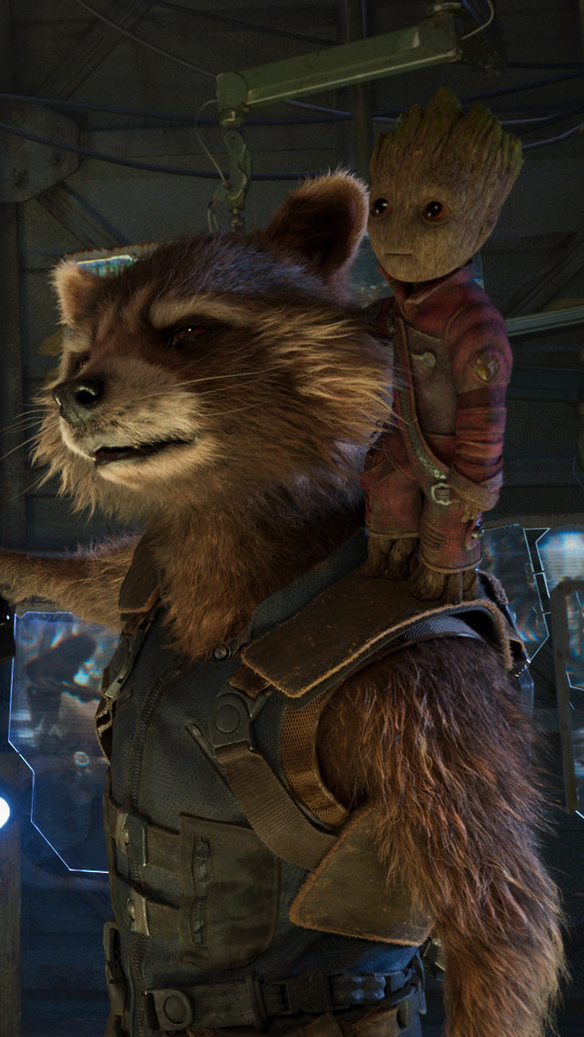 640x1136 Baby Groot And Rocket Raccoon In Guardians Of The Galaxy