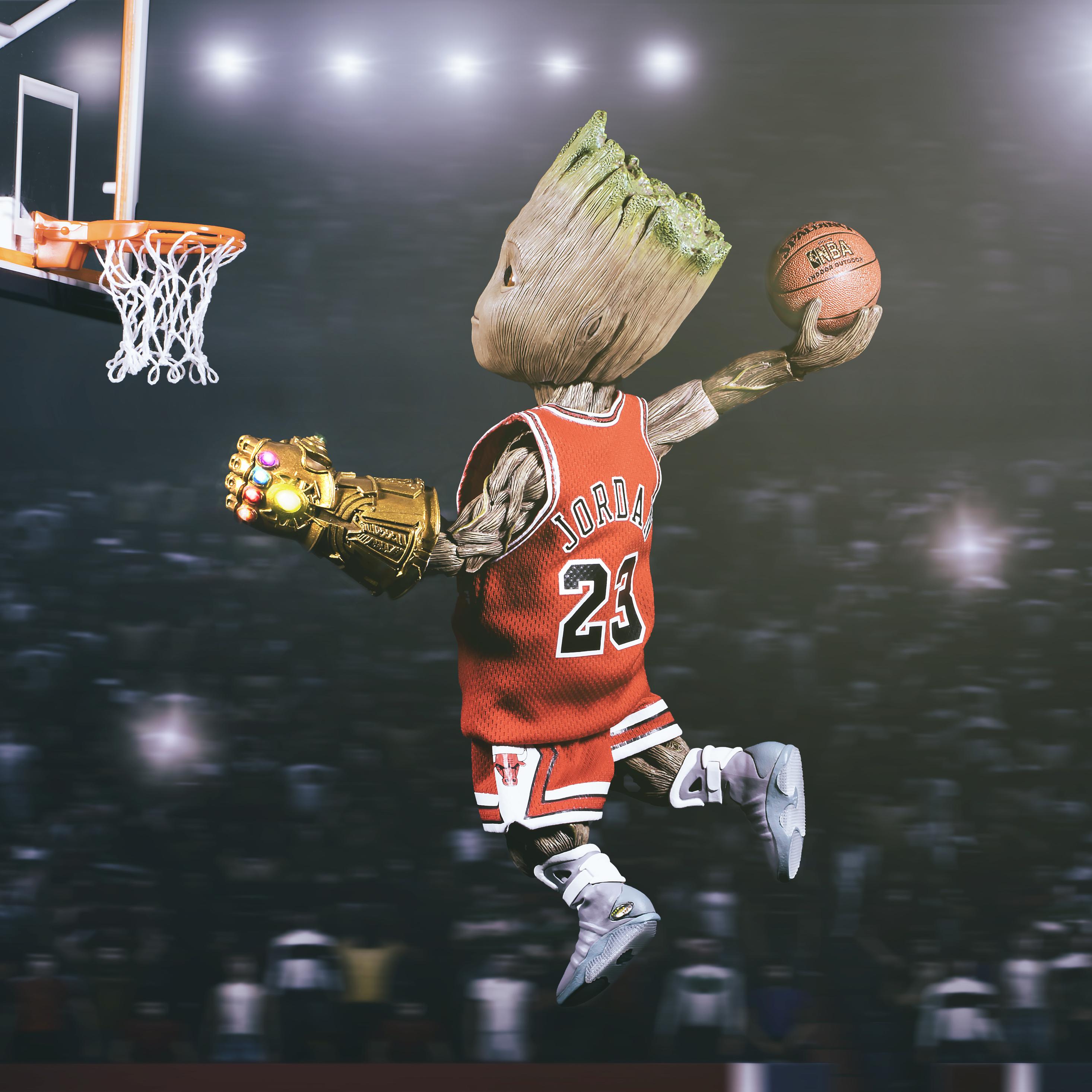 2932x2932 Baby Groot Playing Basketball Ipad Pro Retina Display Hd