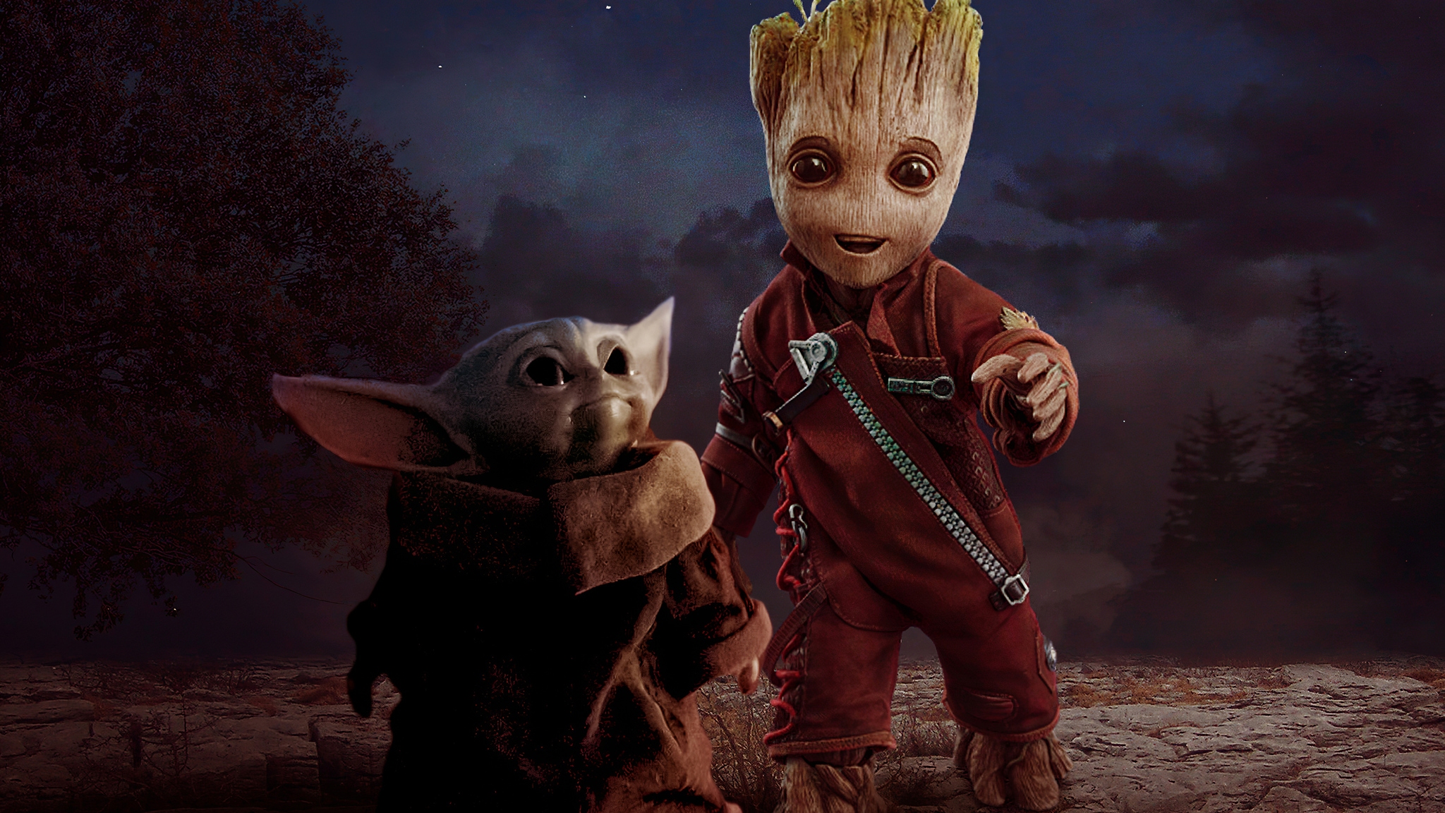 2048x1152 Baby Yoda And Baby Groot 2048x1152 Resolution Hd