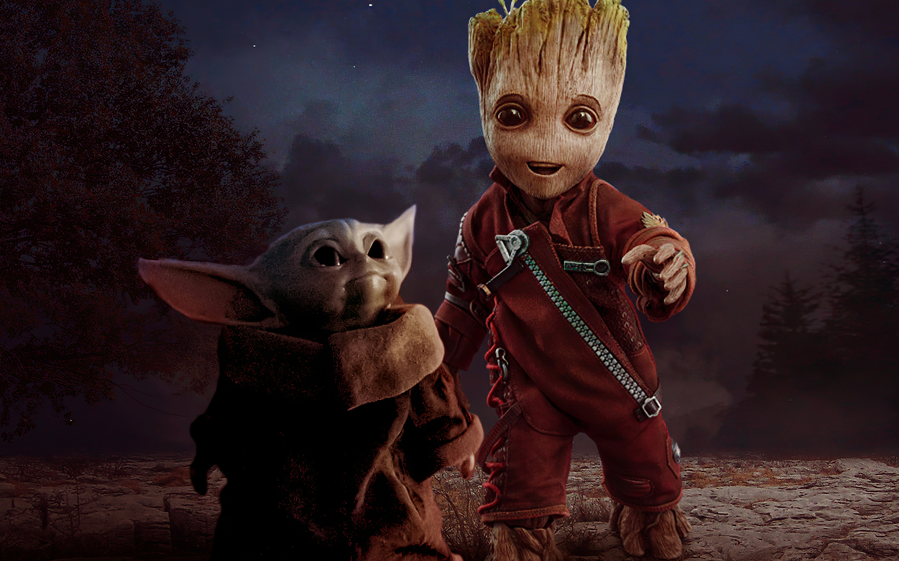 2880x1800 Baby Yoda And Baby Groot Macbook Pro Retina HD ...