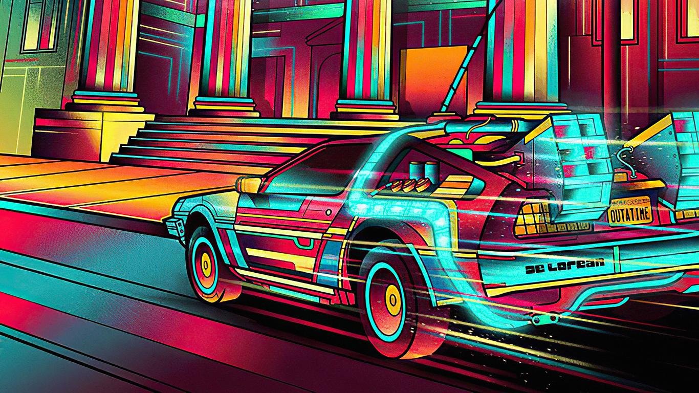 1366x768 Back To The Future Colorful Delorean 1366x768 ...