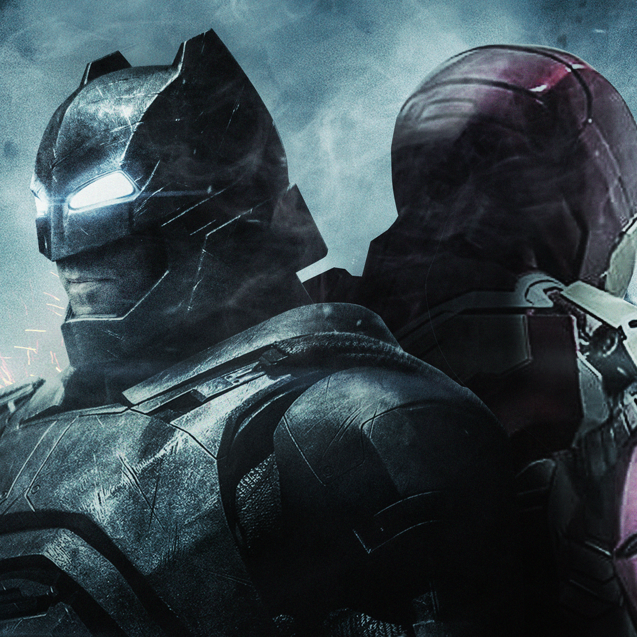 2048x2048 batman and iron man ipad air hd 4k wallpapers, images