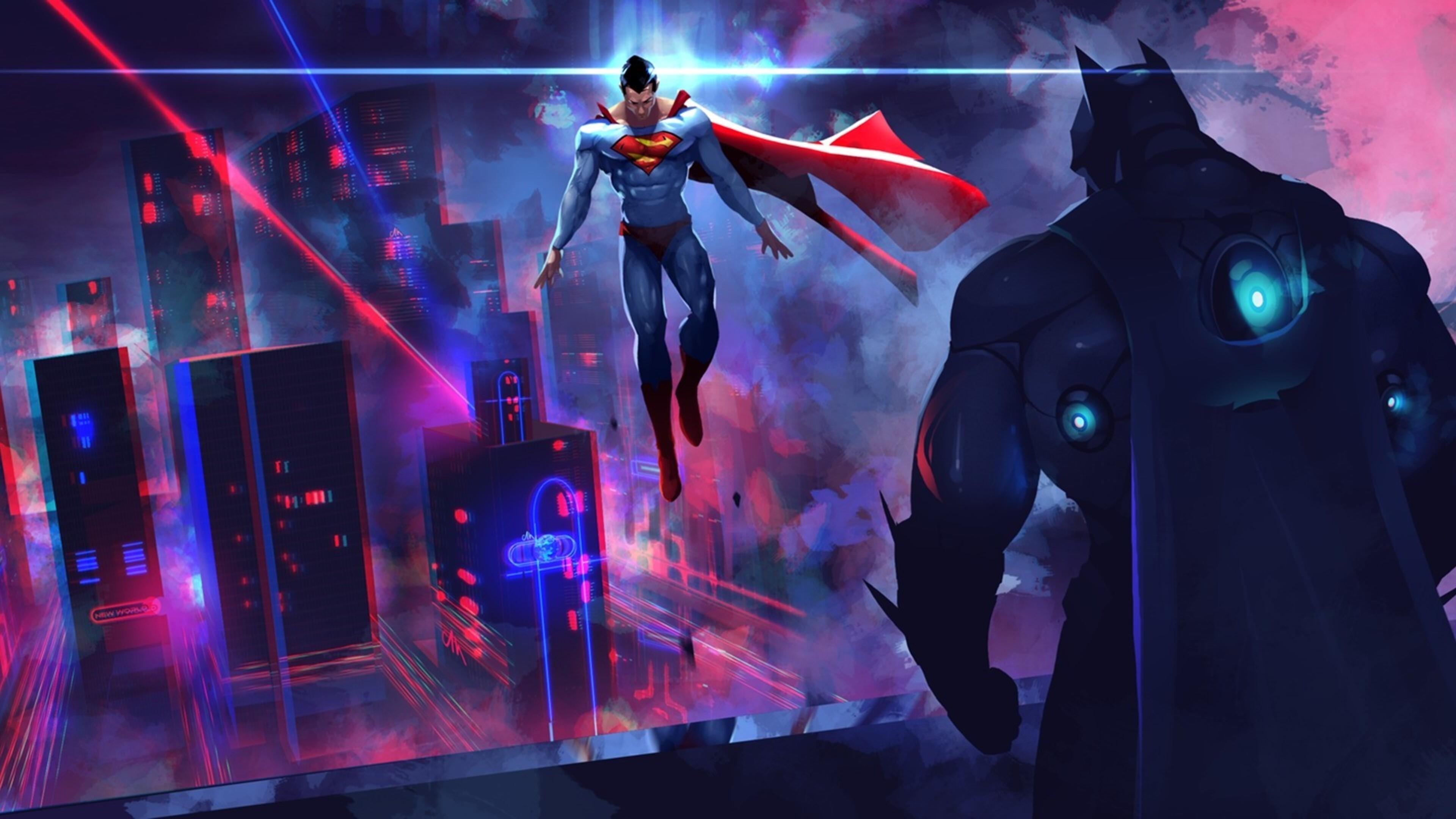 3840x2160 Batman Vs Superman Neon Lights Artwork 4k Hd 4k