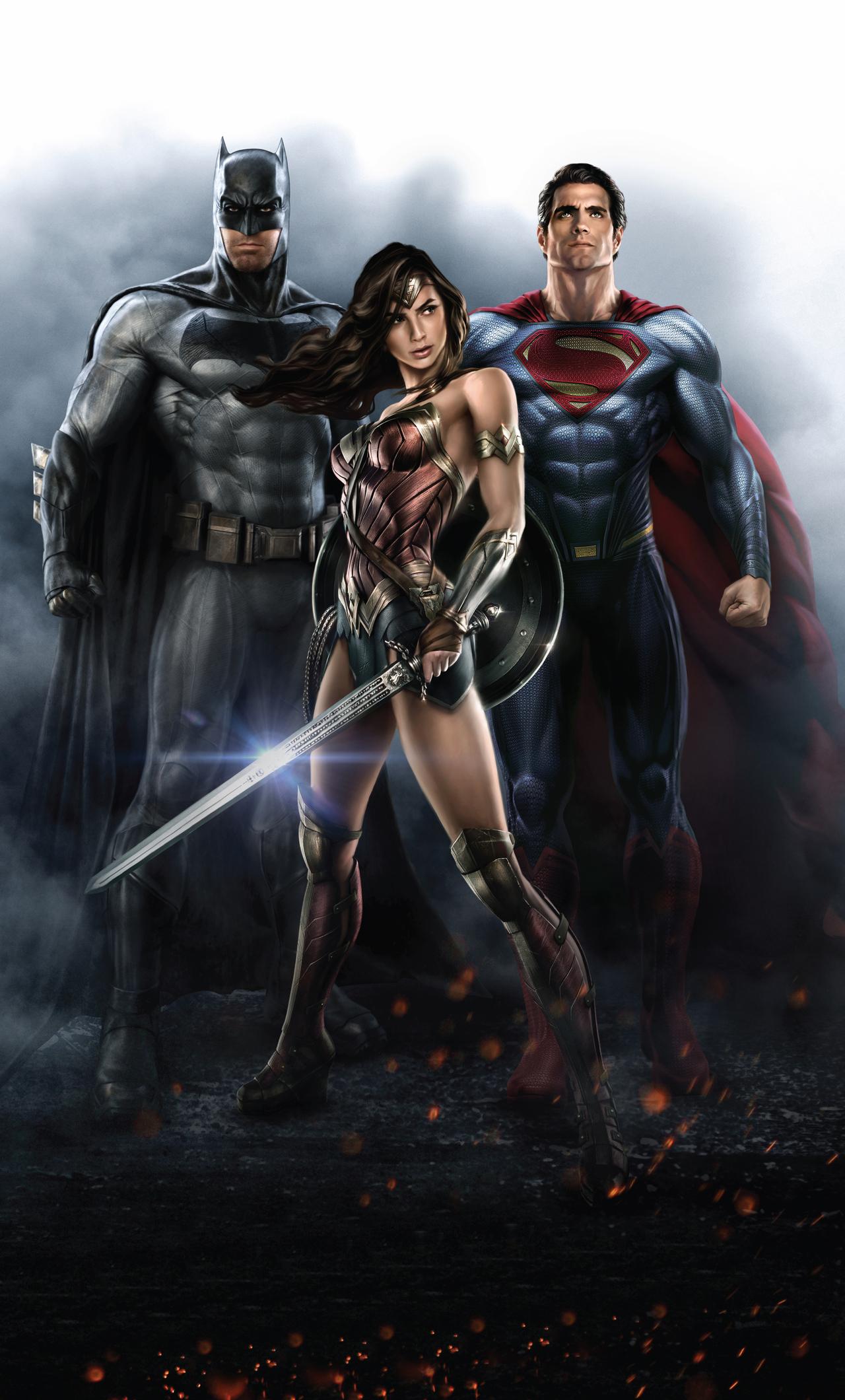 1280x2120 Batman Wonder Woman Superman 4k Iphone 6 Hd 4k