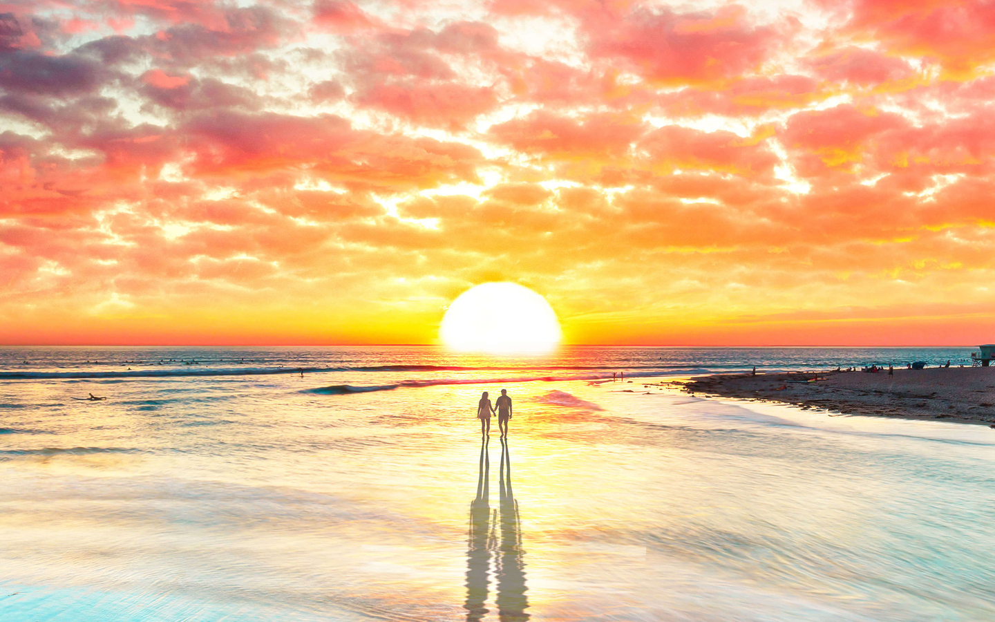 1440x900 Beach Couple Watching Sunset 4k 1440x900 Resolution
