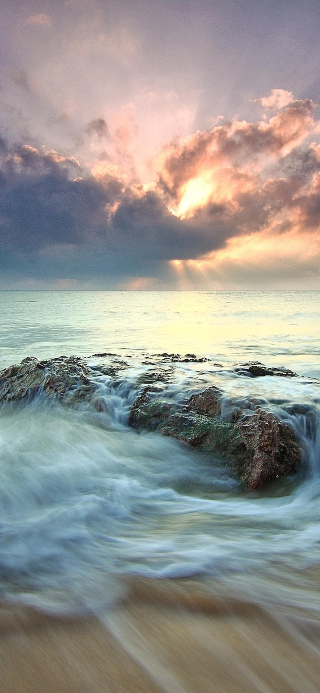 1242x2688 Beach Sea Dawn Dusk Landscape Ocean Rocks Sunlight
