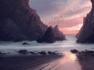 320x240 Beach Seaside Digital Painting 4k Apple Iphone Ipod