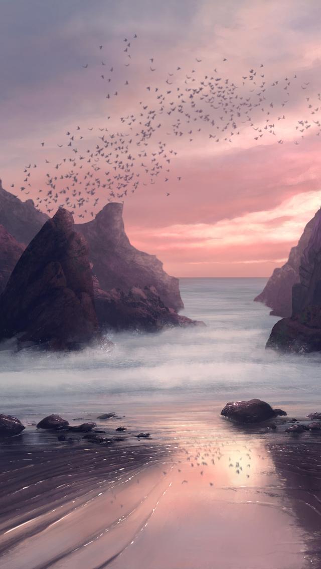 640x1136 Beach Seaside Digital Painting 4k Iphone 5 5c 5s Se