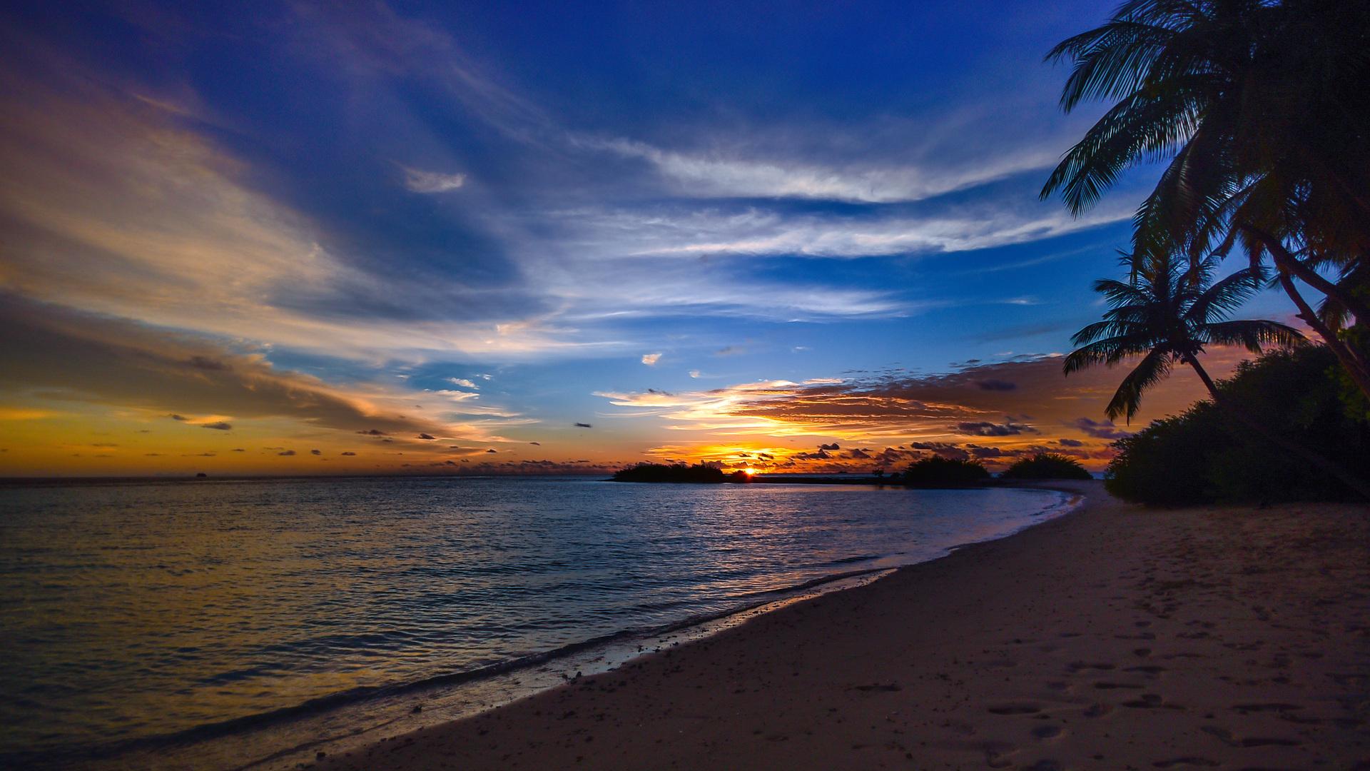 Free Images 4k Wallpaper Beach Calm Cliff Clouds Hd: 1920x1080 Beach Tree Sea Clouds 4k Laptop Full HD 1080P HD