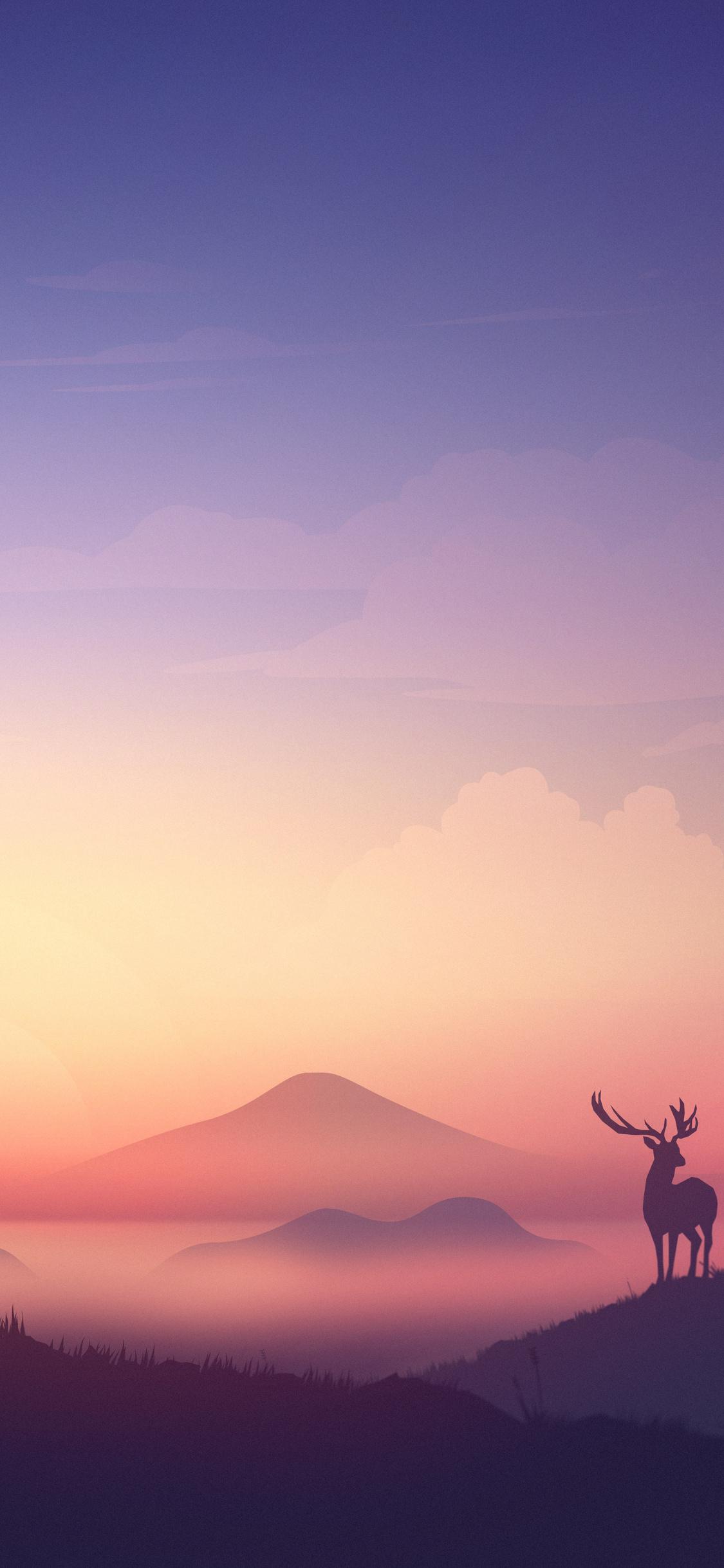 1125x2436 Bear Deer Mountains Sunrise Minimalism Artwork 8k Iphone