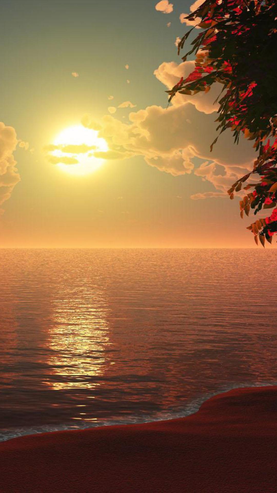 1080x1920 Beautiful Beach Sunset Artwork Iphone 7,6s,6 ...