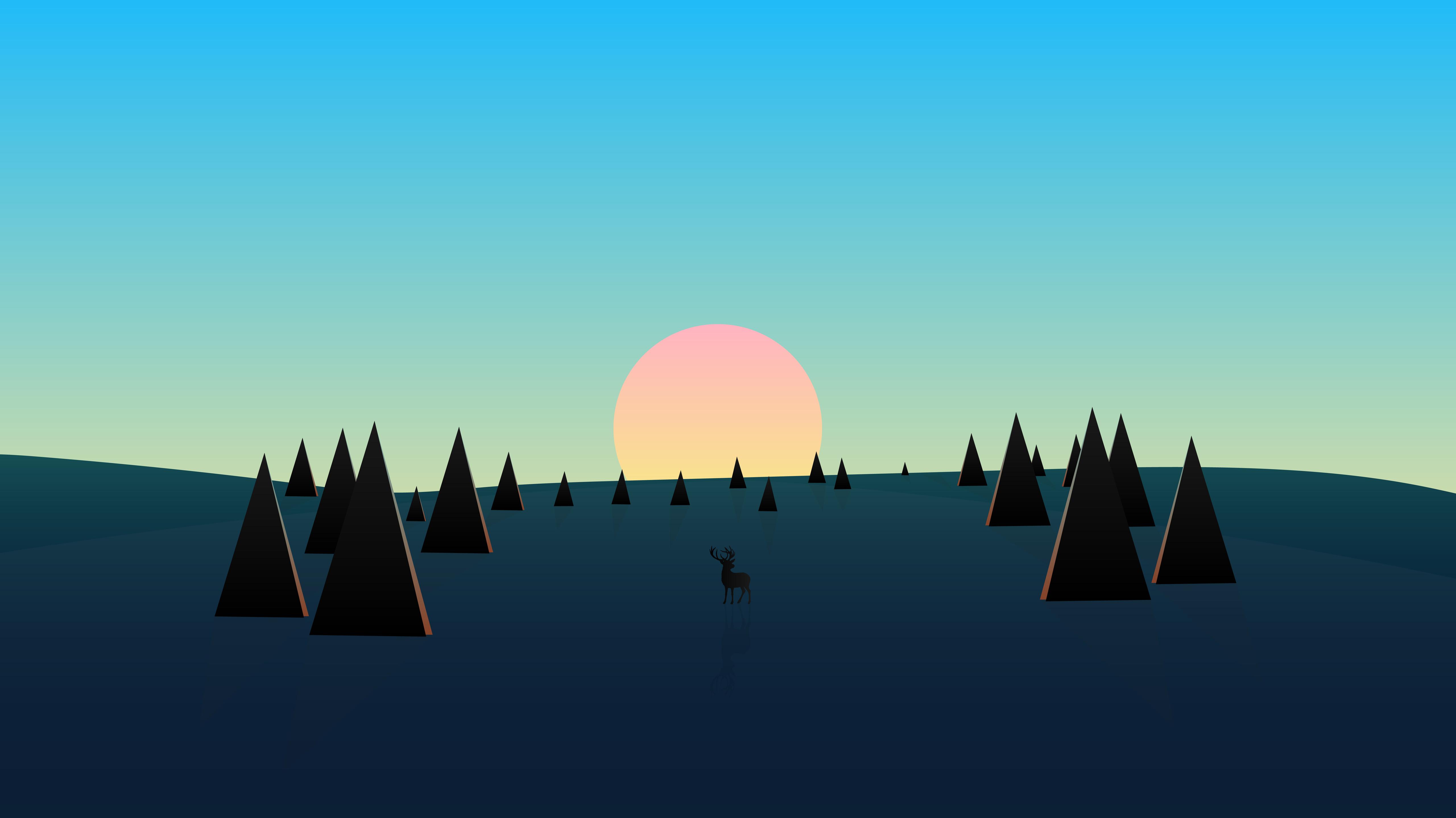beautiful-day-sunset-deer-minimal-8k-9z.jpg