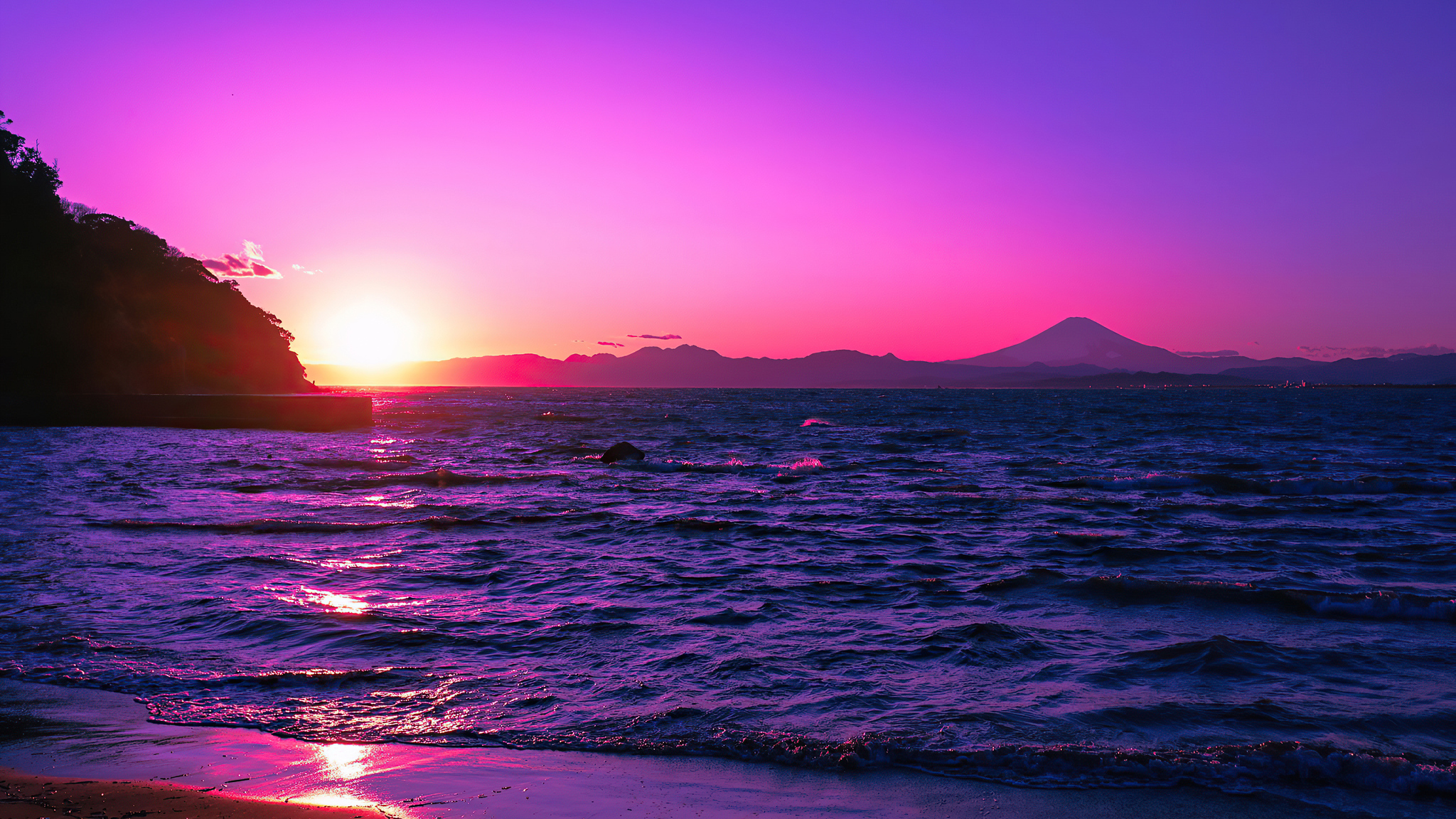 2048x1152 Beautiful Evening Purple Sunset 4k 2048x1152 Resolution Hd 4k Wallpapers Images Backgrounds Photos And Pictures