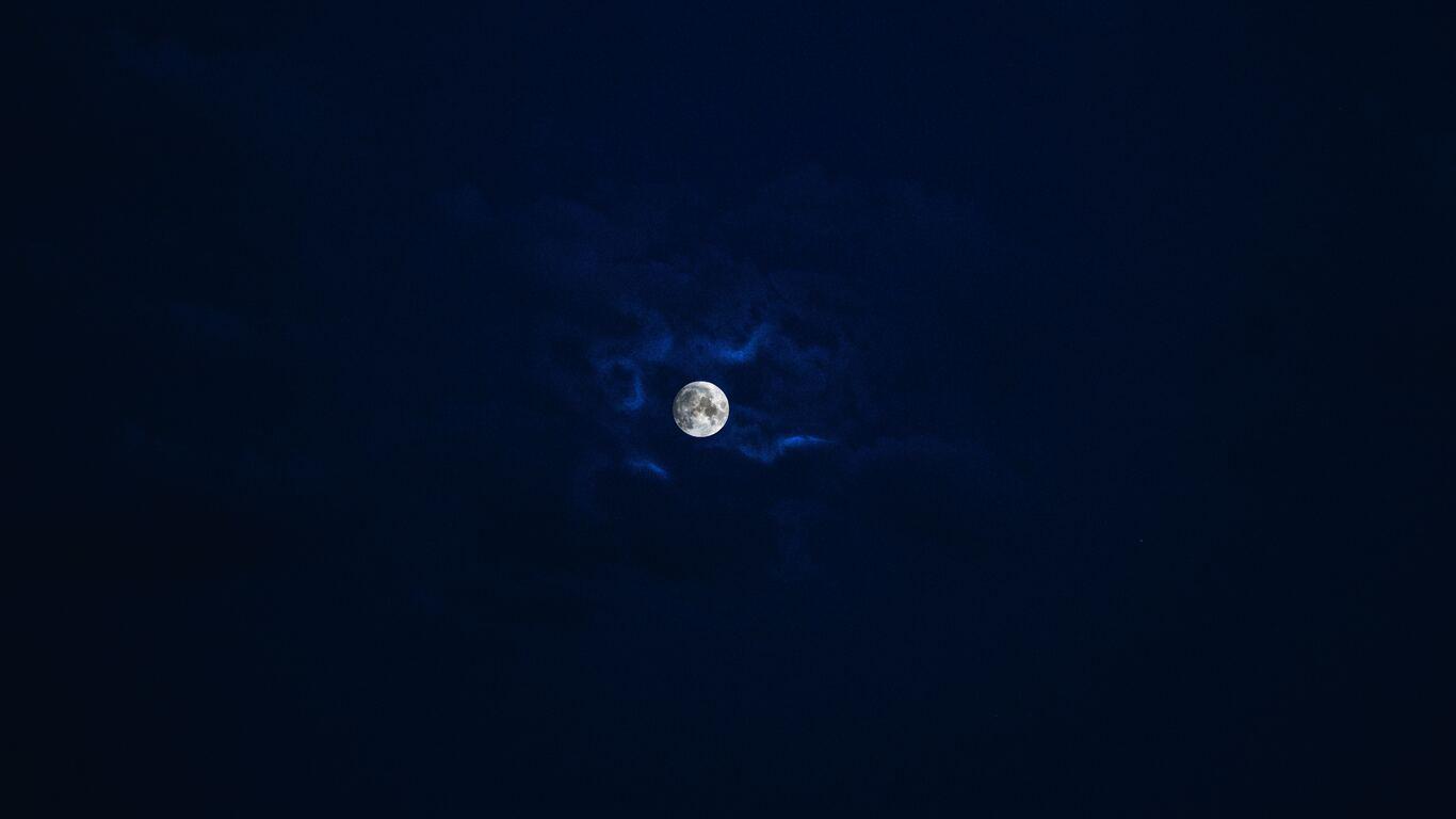 1366x768 Beautiful Moon In Blue Sky 1366x768 Resolution HD ...