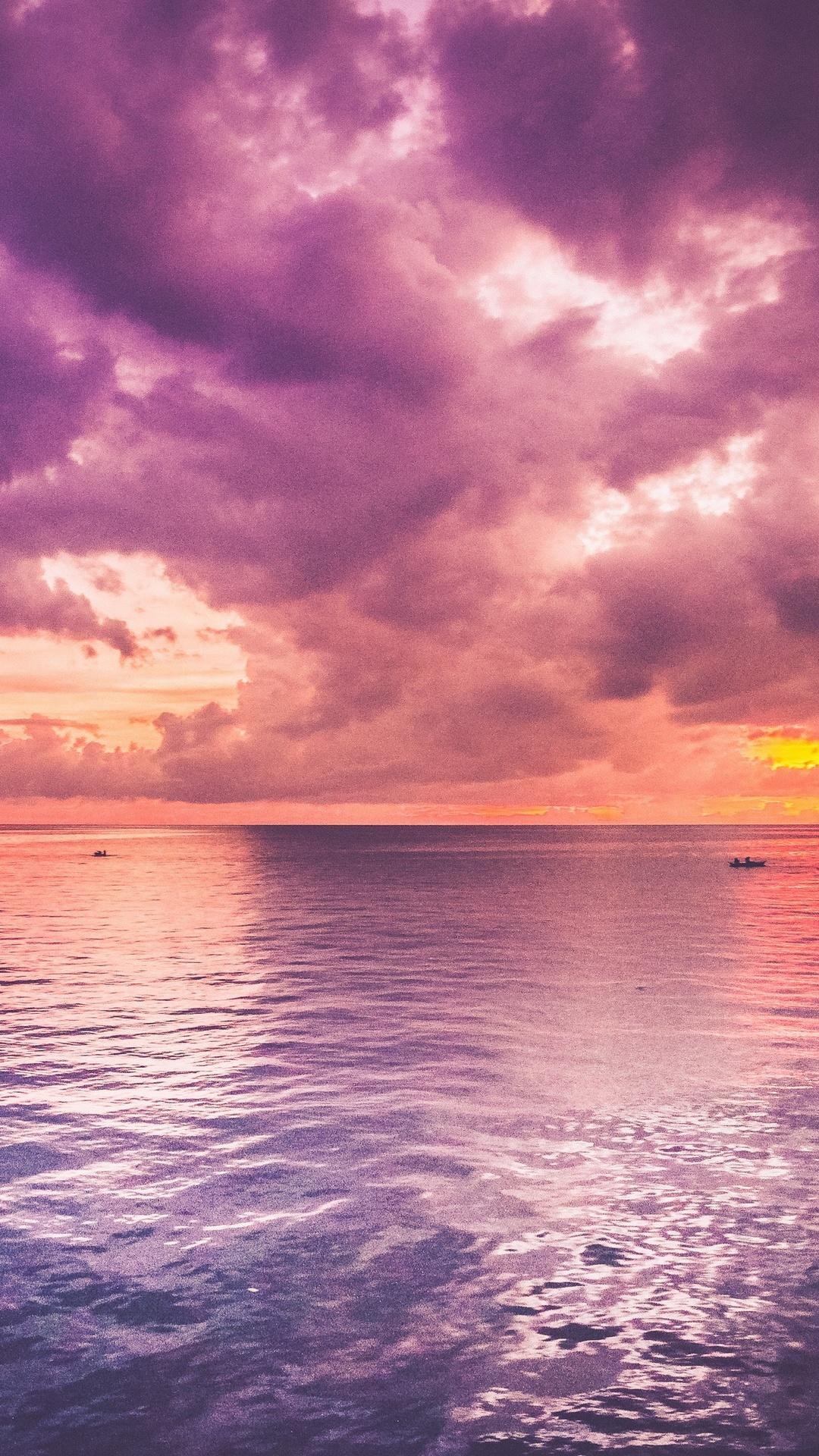 landscapepurpleskyeveningseawavephotodreaminghdwallpaper