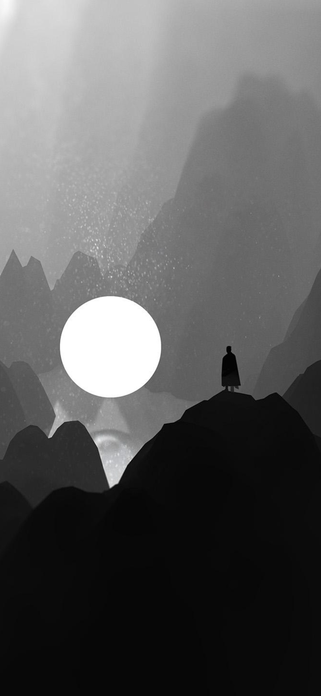 1125x2436 Black And White Moon Man Standing On Mountain Artwork